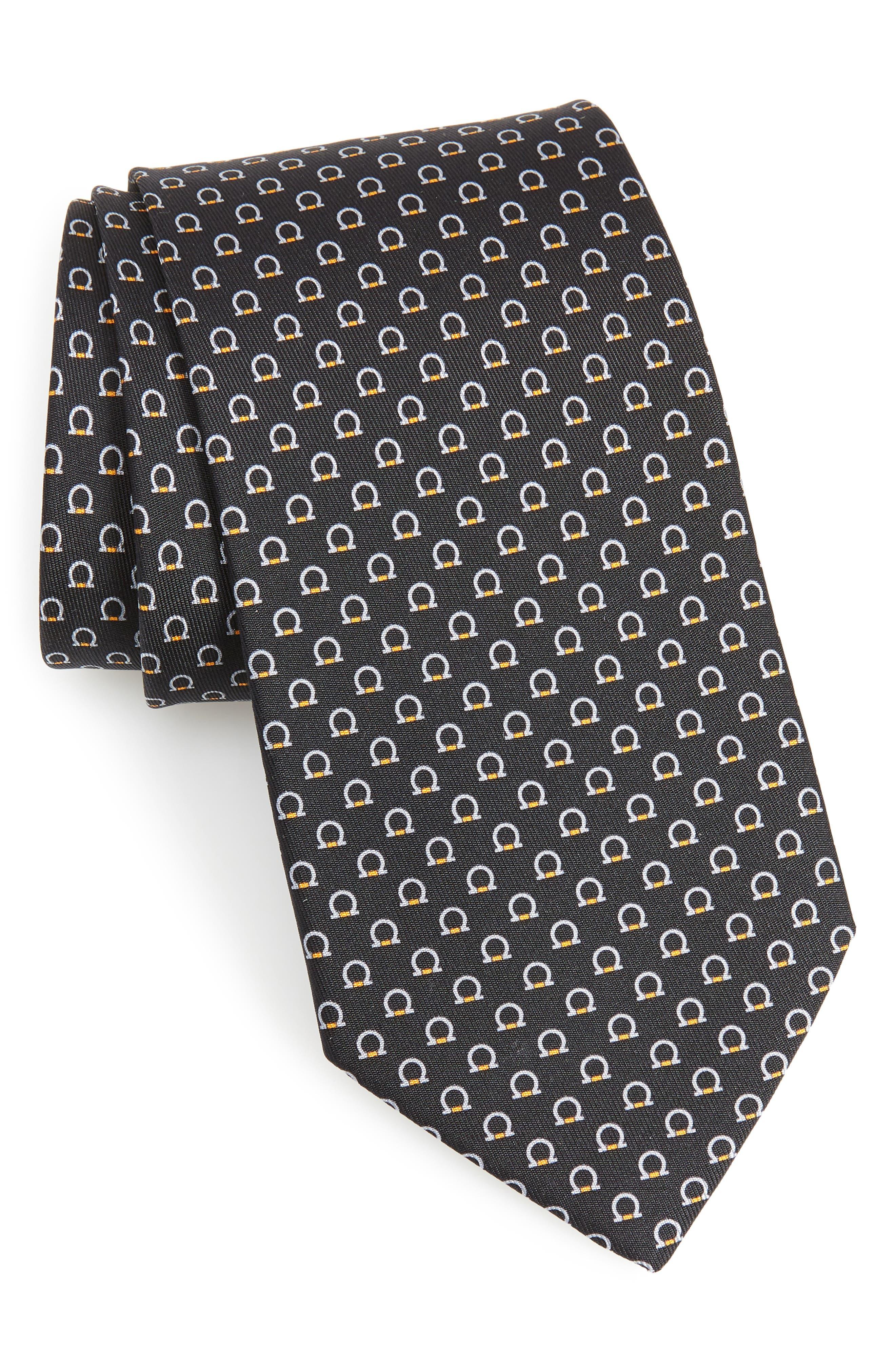 Feudo Print Silk Tie,                         Main,                         color, BLACK