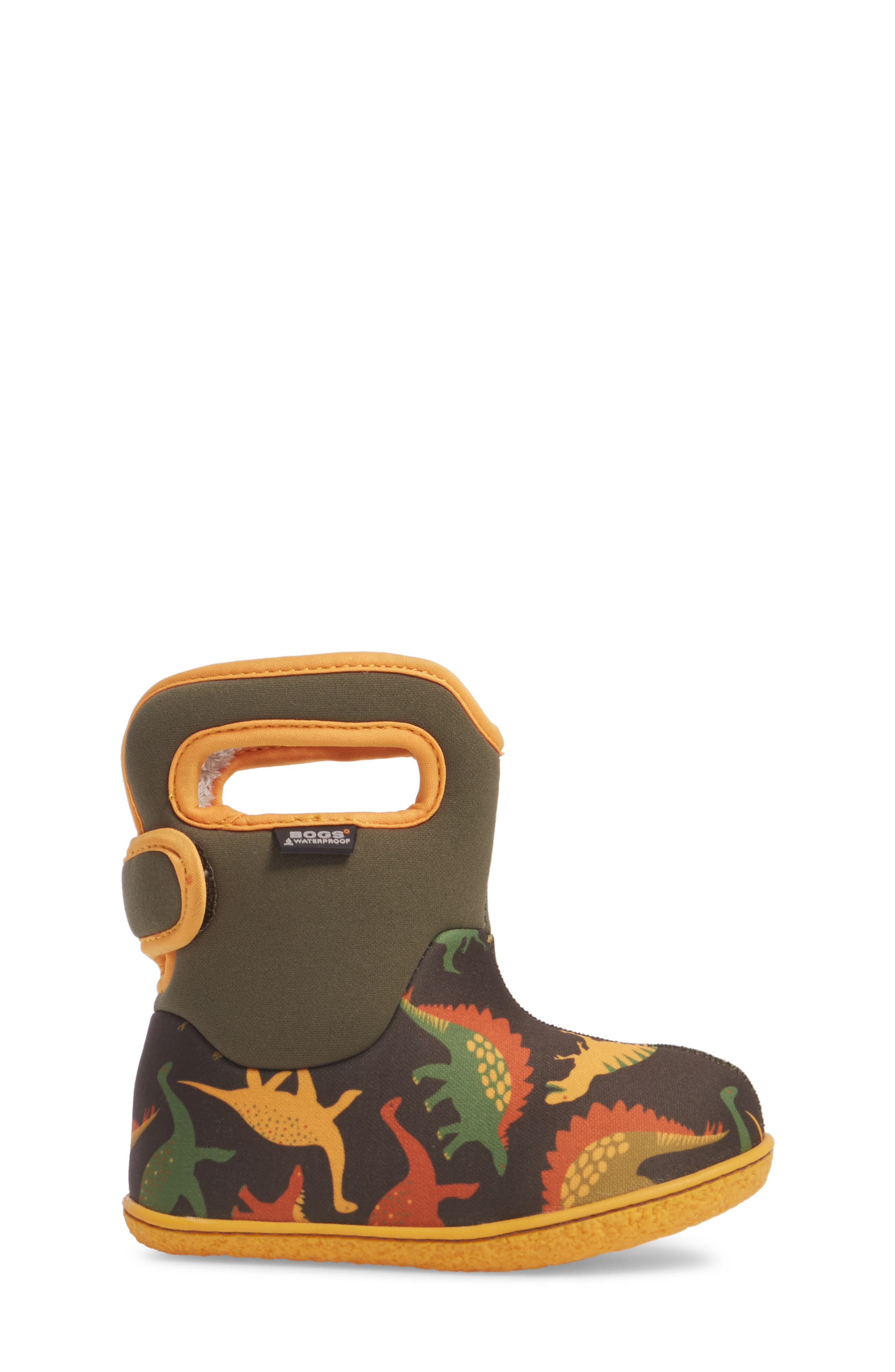 Baby Bog Classic Dino Insulated Waterproof Boot,                             Alternate thumbnail 3, color,                             356