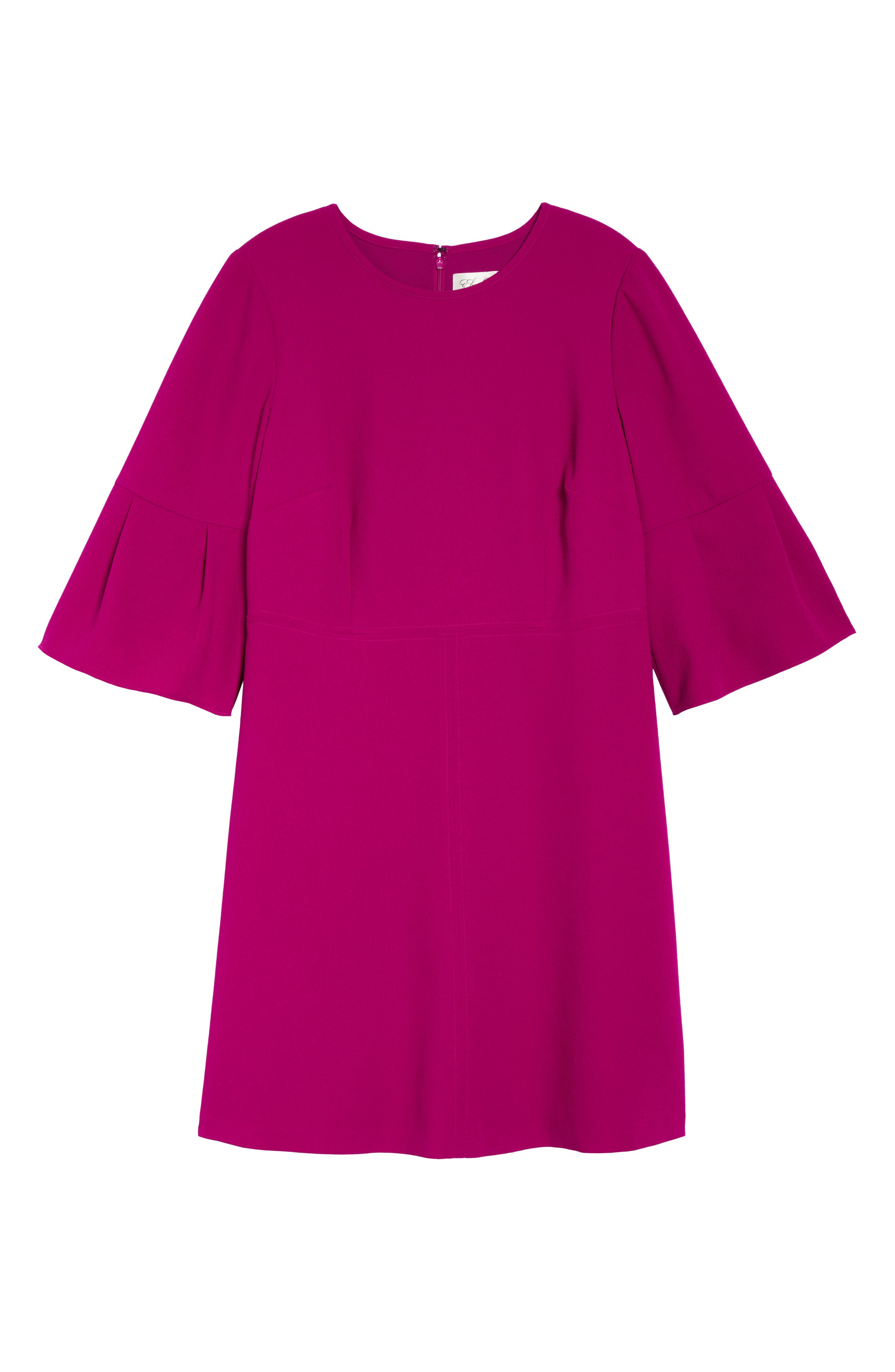 Bell Sleeve Fit & Flare Dress,                             Alternate thumbnail 7, color,