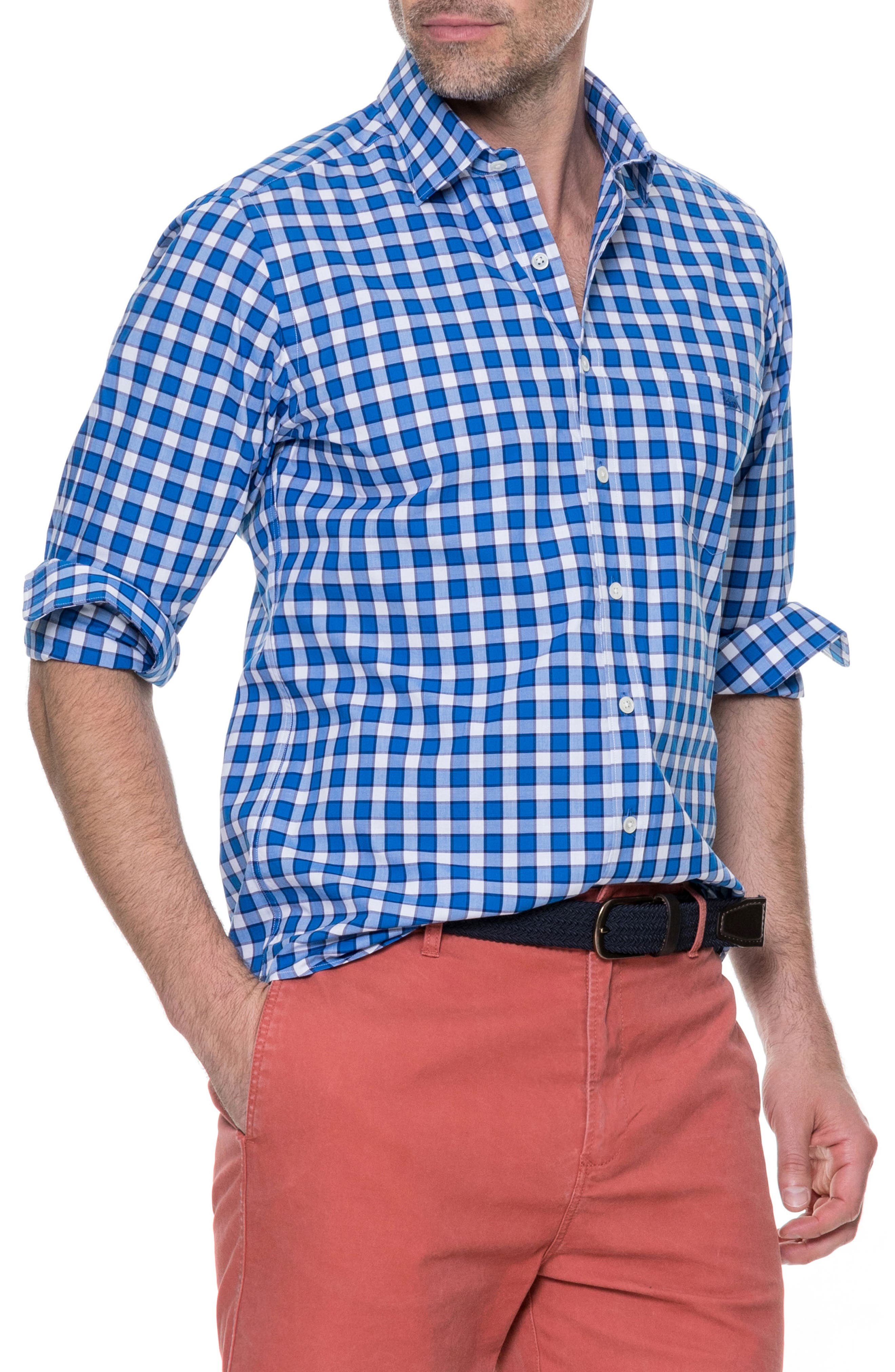 Cedarwood Regular Fit Sport Shirt,                             Main thumbnail 1, color,                             AZURE