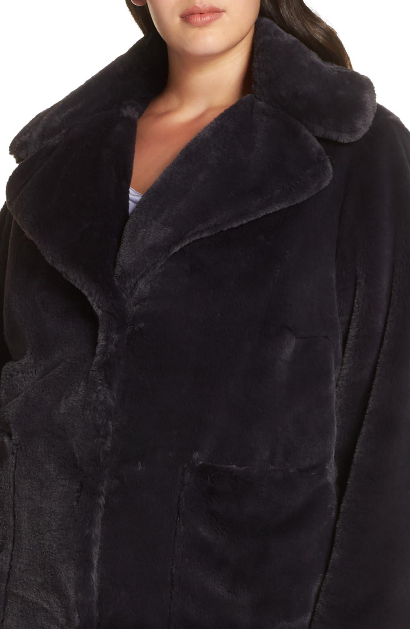 Faux Fur Coat,                             Alternate thumbnail 4, color,                             SLATE