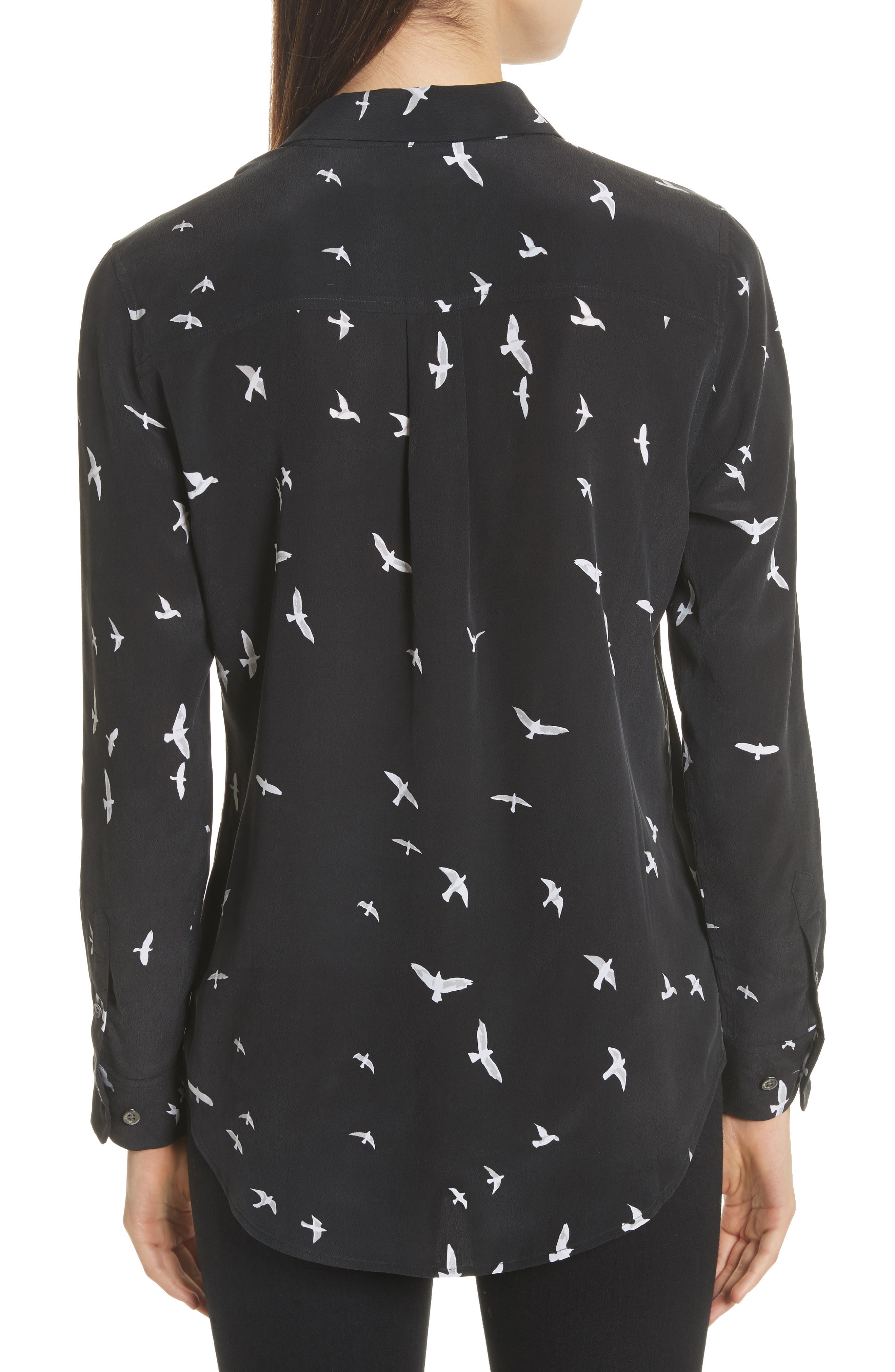 Slim Signature Bird Print Silk Shirt,                             Alternate thumbnail 2, color,
