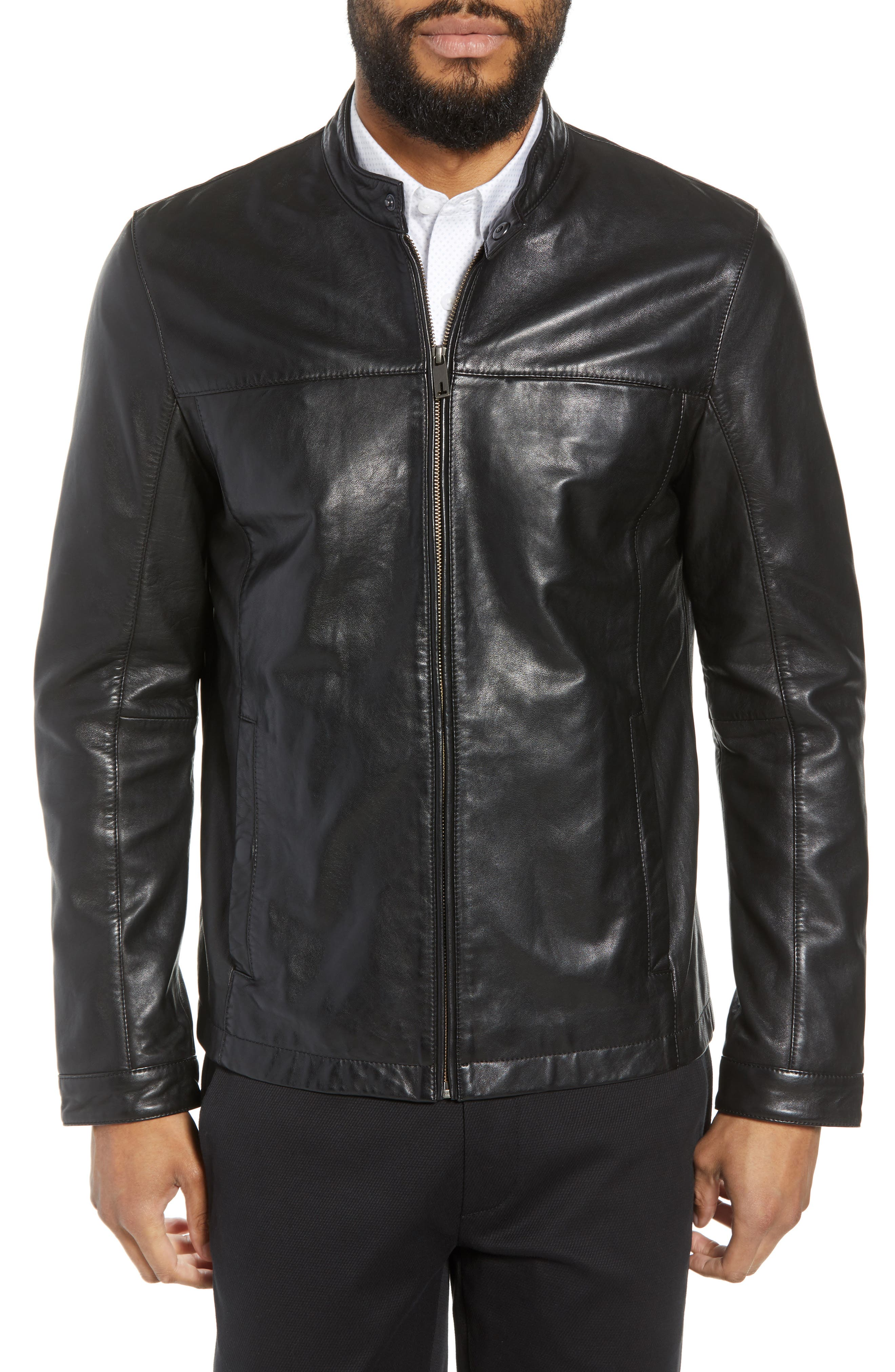 Ginga Trim Fit Leather Jacket,                             Alternate thumbnail 4, color,                             BLACK