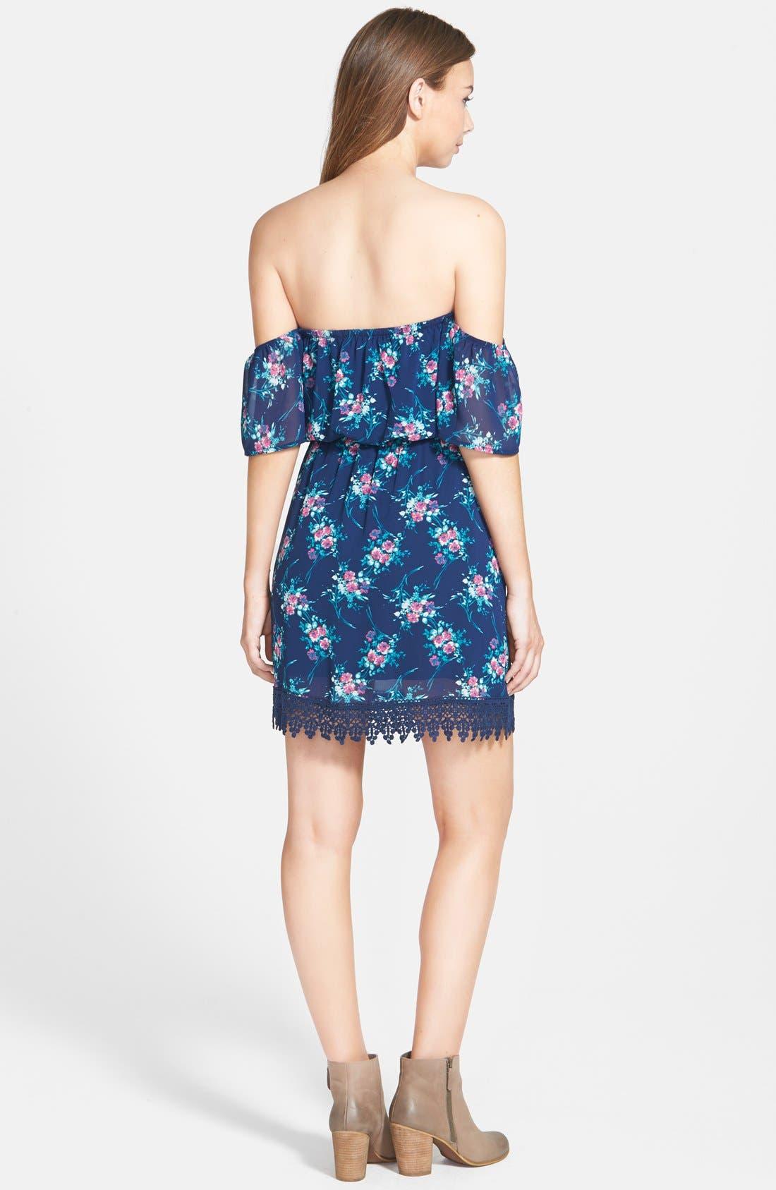 Strapless Crochet Trim Dress,                             Alternate thumbnail 5, color,                             400