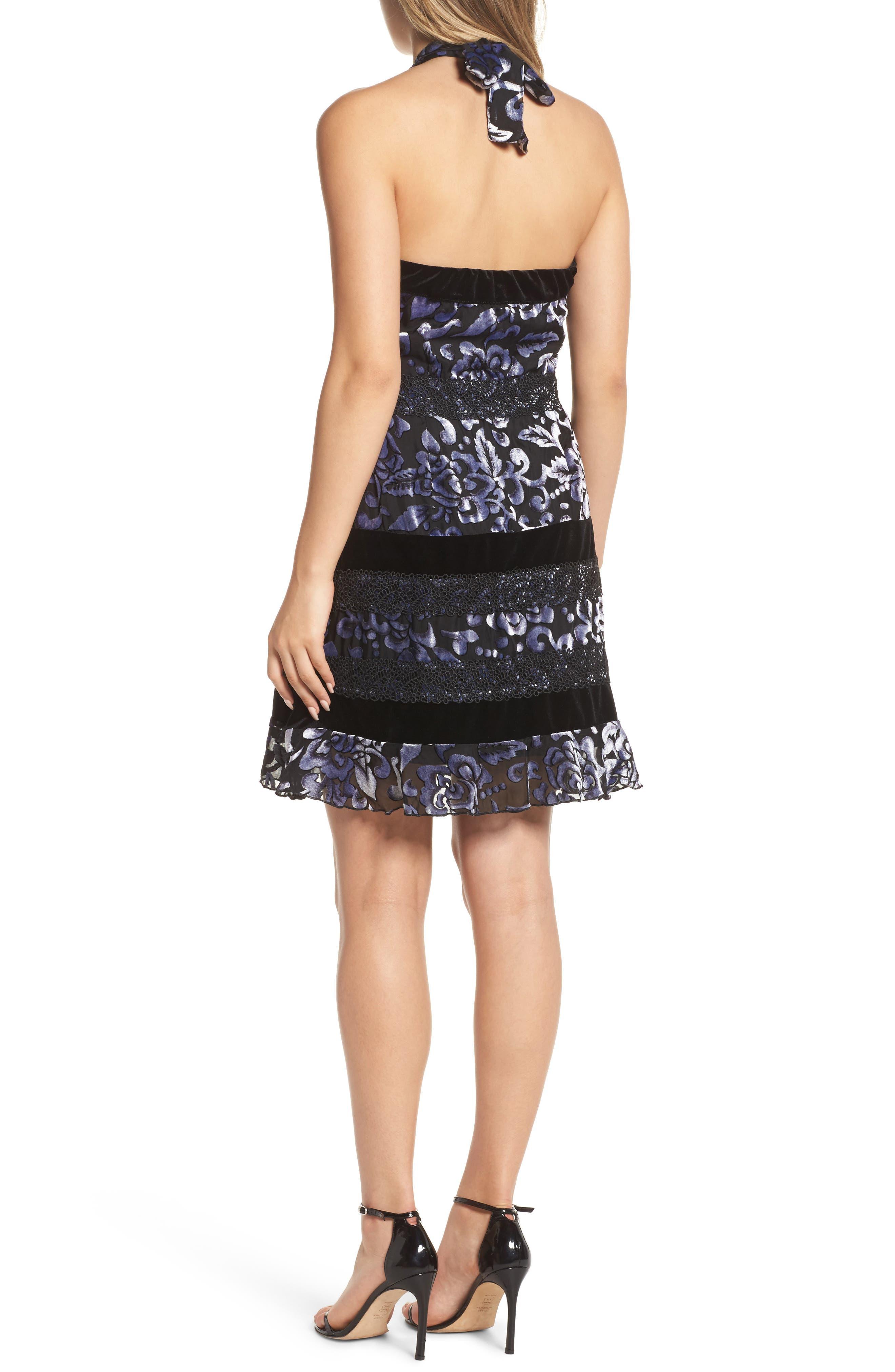 Velvet Halter Neck Fit & Flare Dress,                             Alternate thumbnail 2, color,