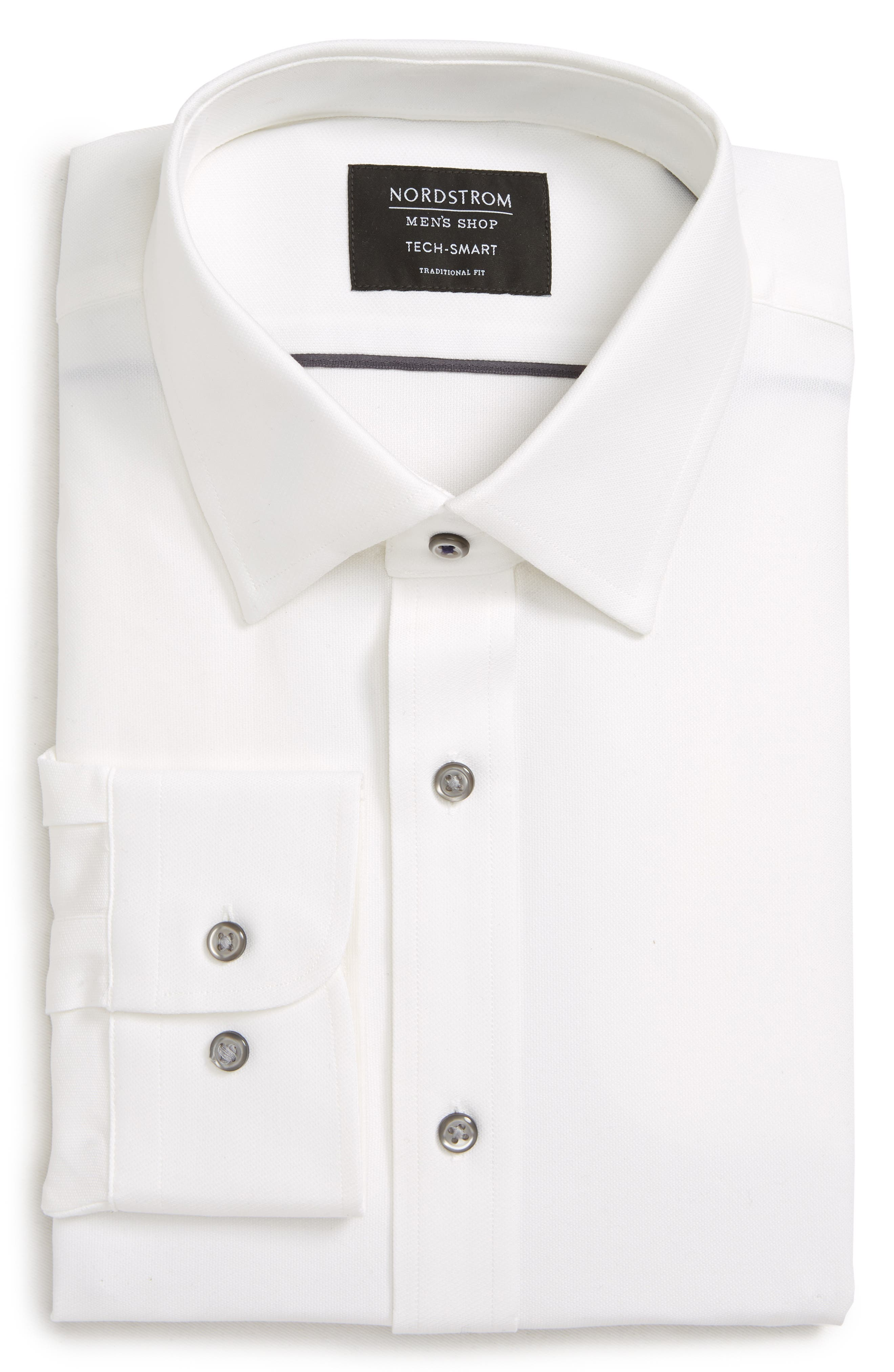 Tech-Smart Traditional Fit Stretch Solid Dress Shirt,                             Alternate thumbnail 5, color,                             WHITE