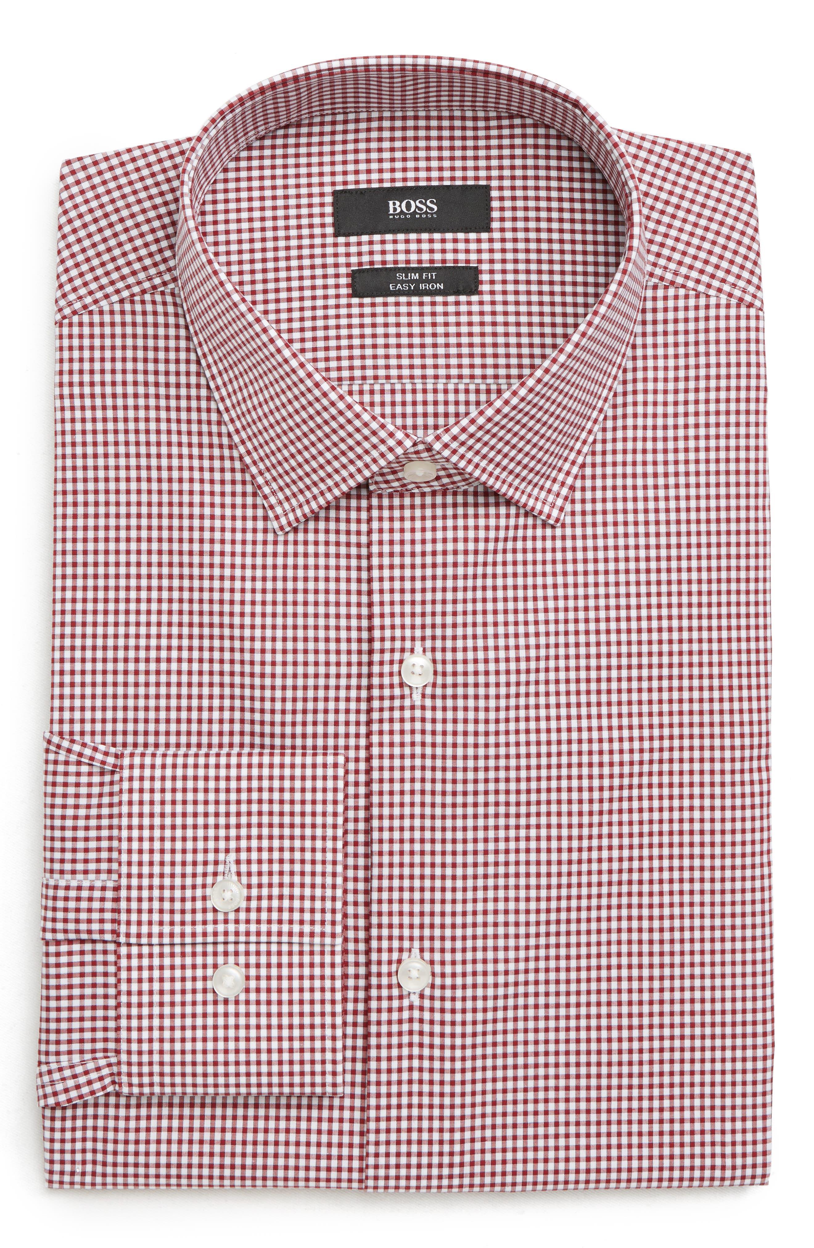 Jenno Slim Fit Check Dress Shirt,                             Alternate thumbnail 5, color,                             RED