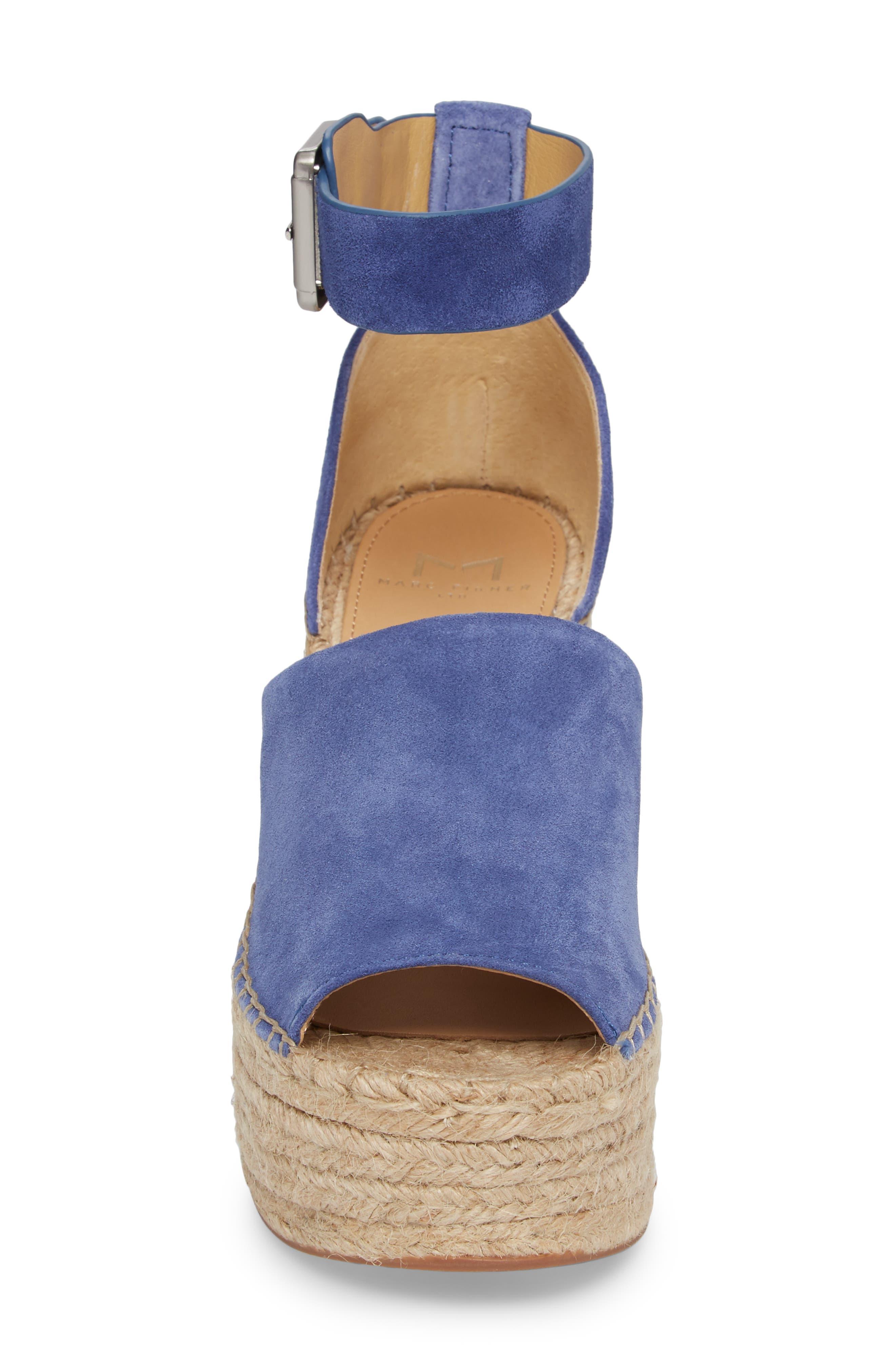 Adalyn Espadrille Wedge Sandal,                             Alternate thumbnail 4, color,                             BLUE SUEDE