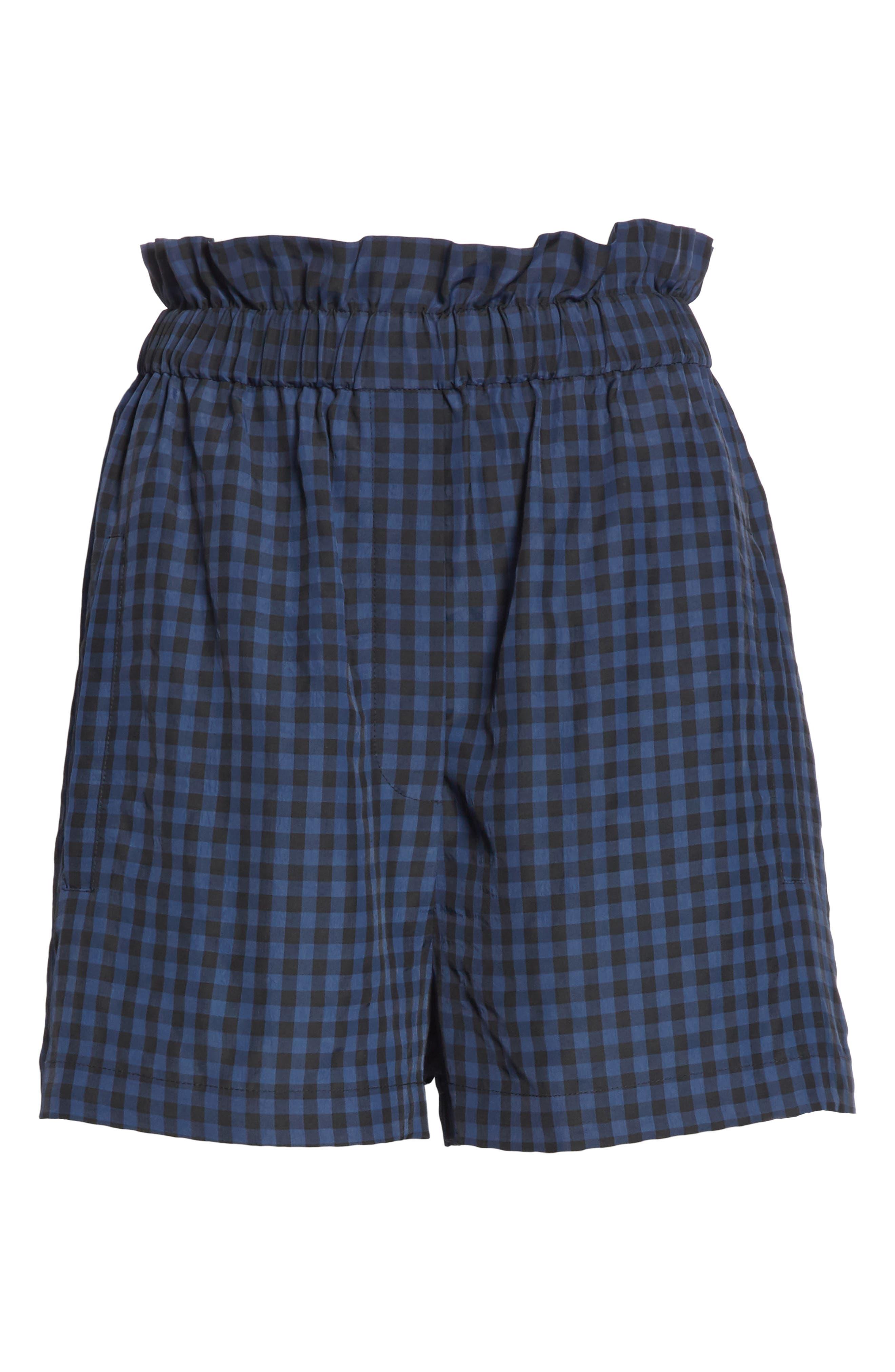 Gingham Paperbag Waist Shorts,                             Alternate thumbnail 6, color,                             NAVY MULTI