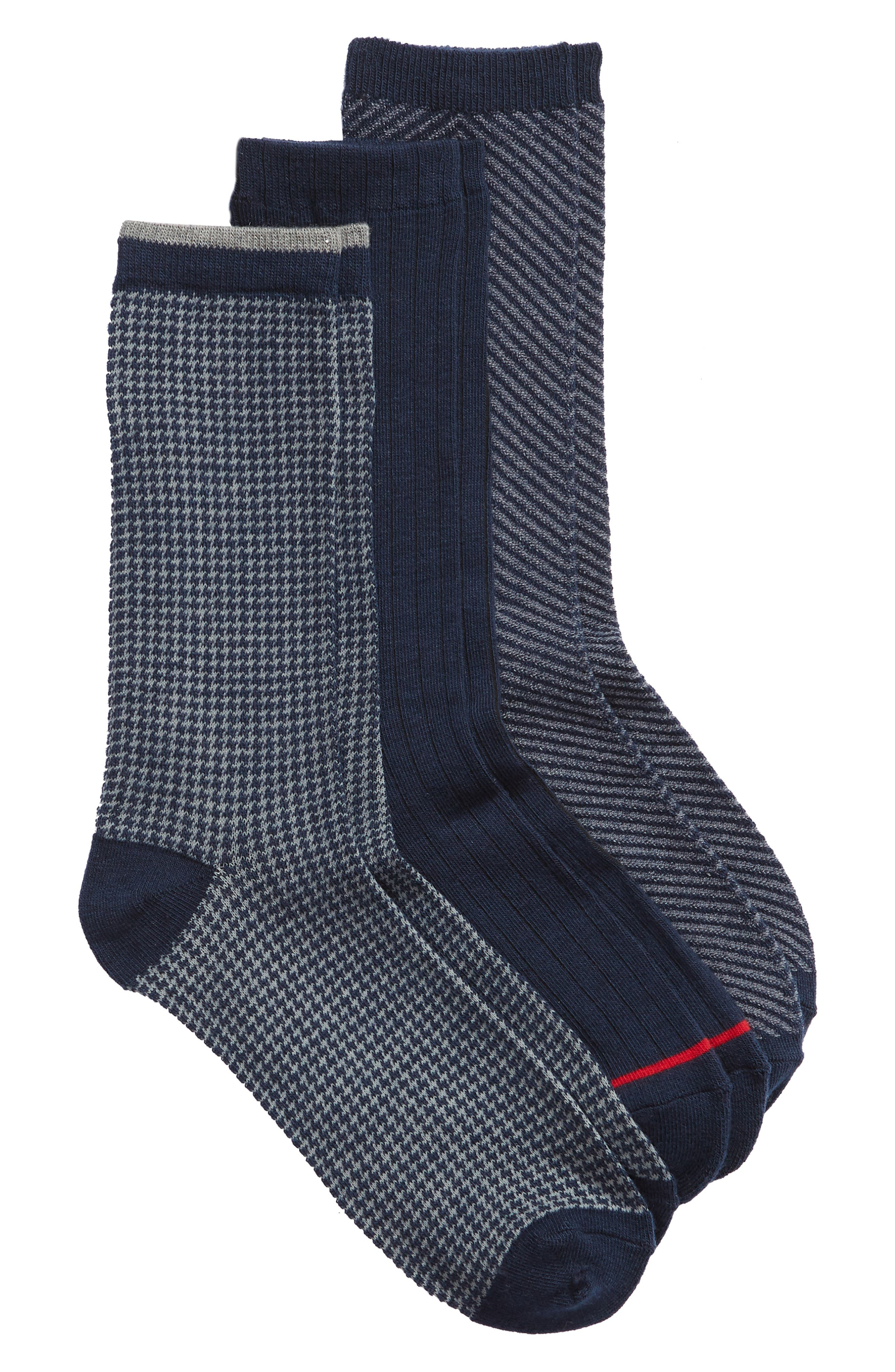 Dominic 3-Pack Crew Socks, Main, color, NAVY MULTI