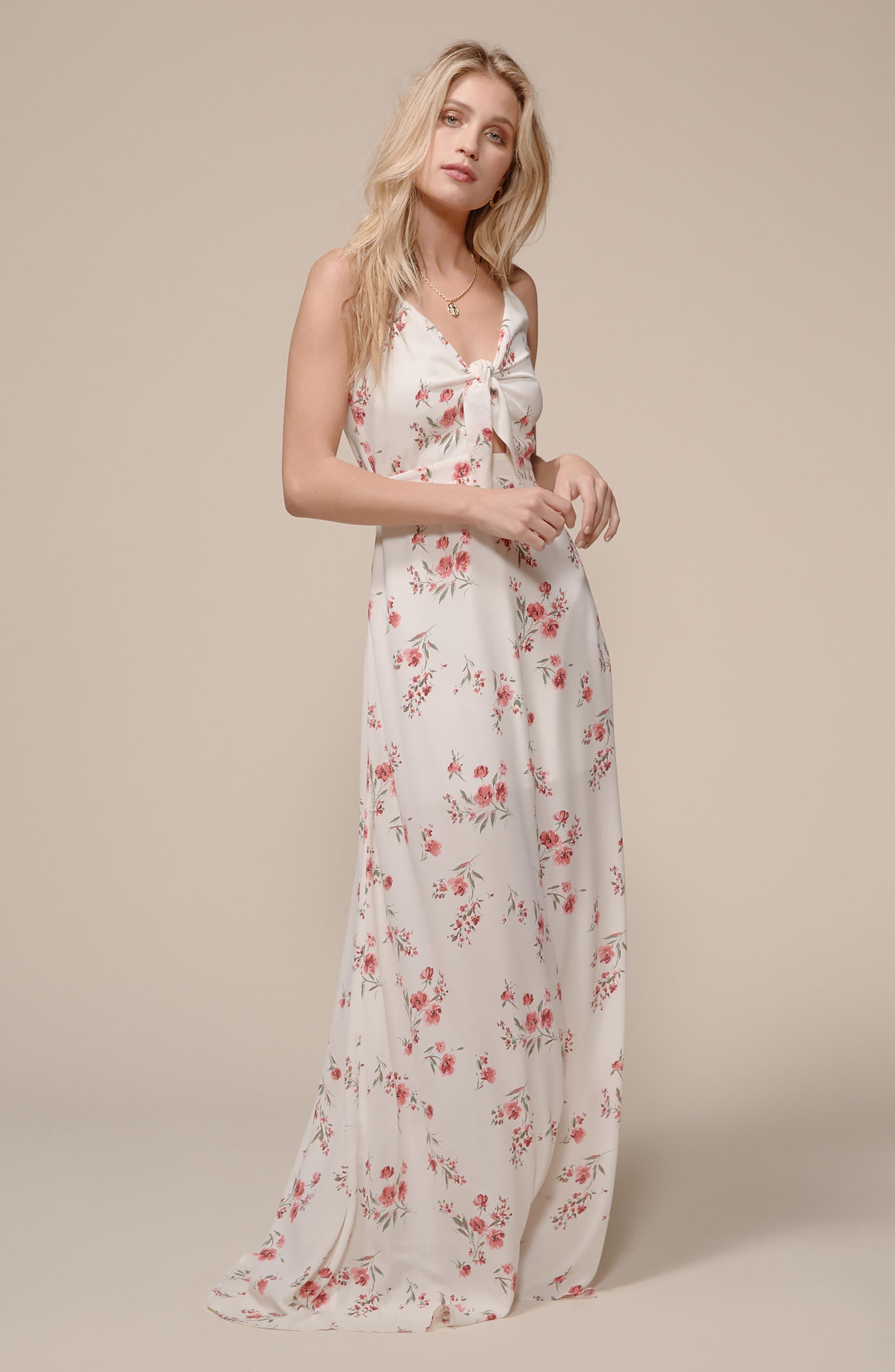 Tie Front Maxi Dress,                             Alternate thumbnail 7, color,                             400