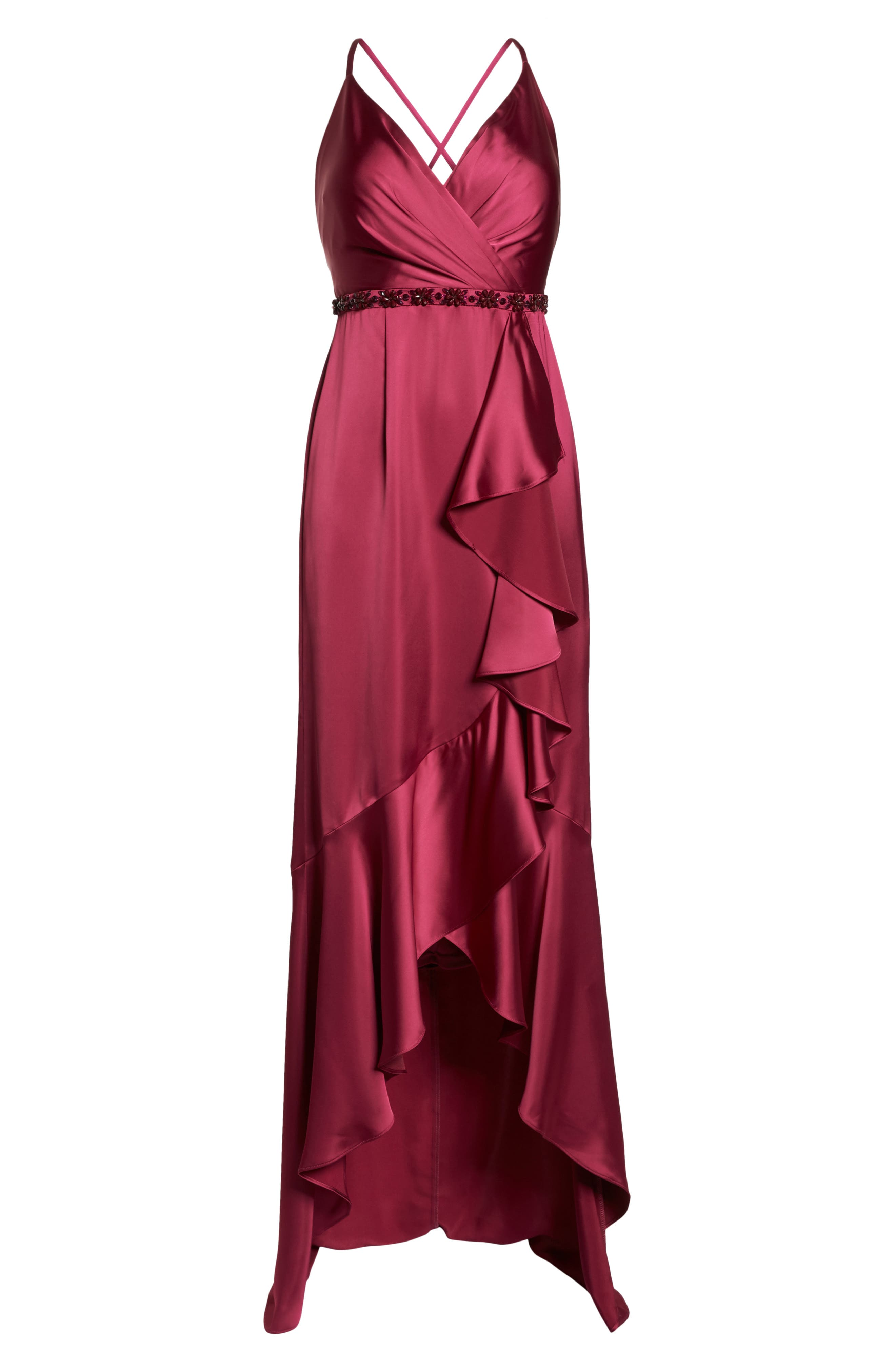 Satin High/Low Faux Wrap Gown,                             Alternate thumbnail 7, color,                             601