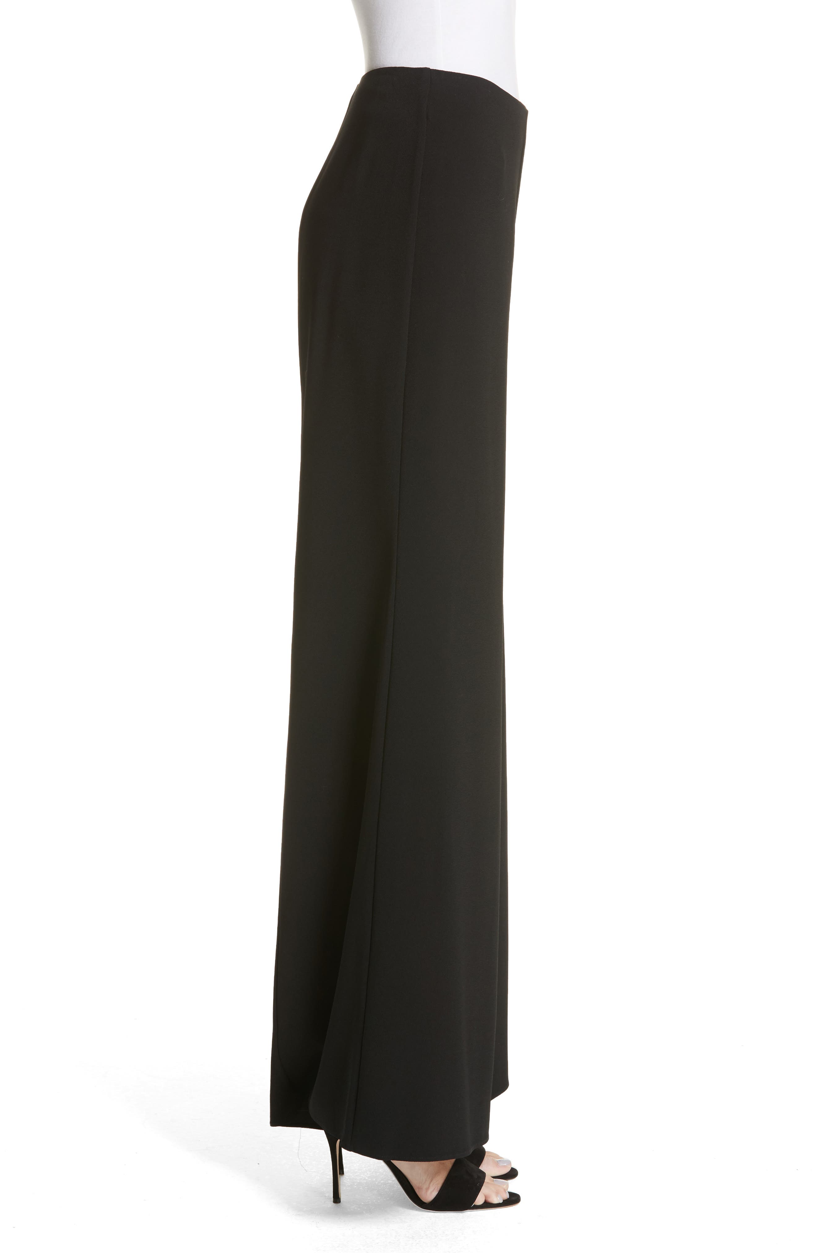 Wide Leg Pants,                             Alternate thumbnail 3, color,                             BLACK