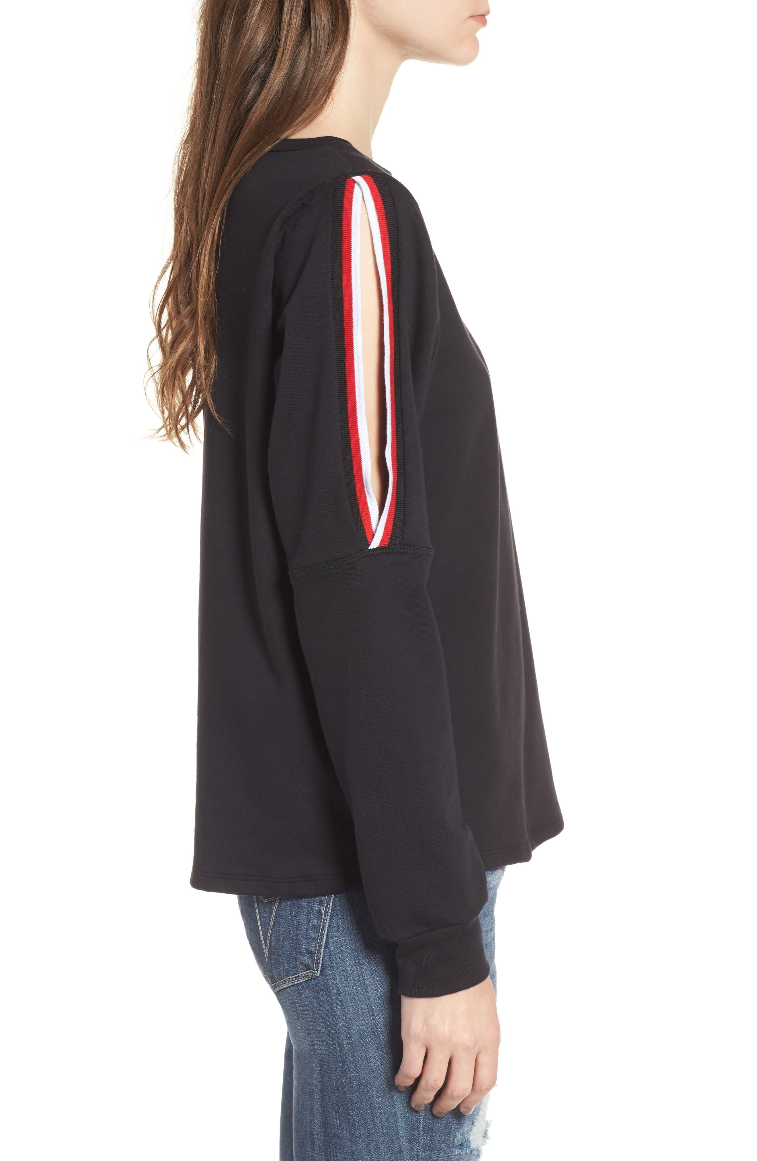 Sporty Cold Shoulder Sweatshirt,                             Alternate thumbnail 3, color,                             001