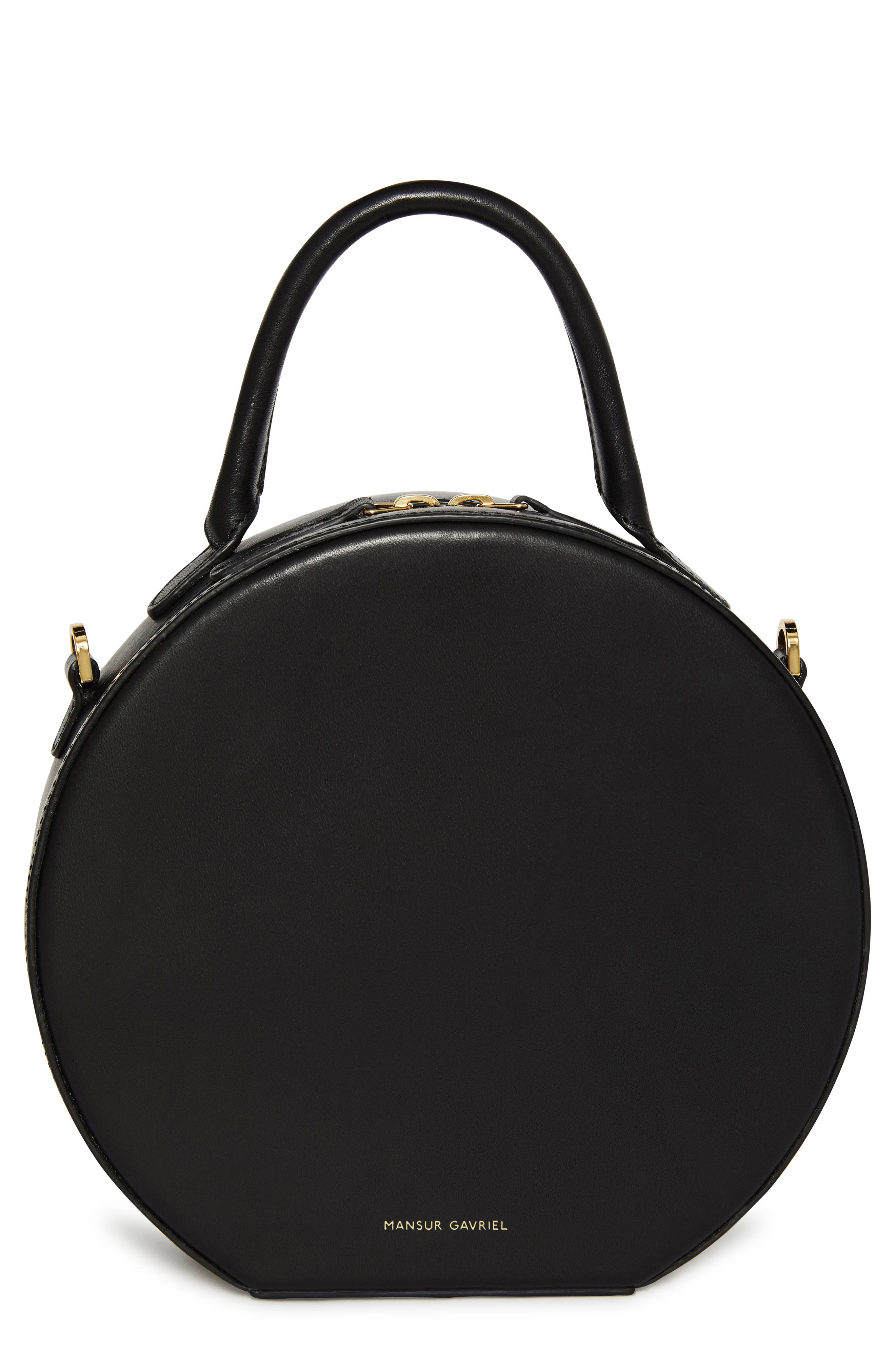 Leather Circle Crossbody Bag,                         Main,                         color, BLACK