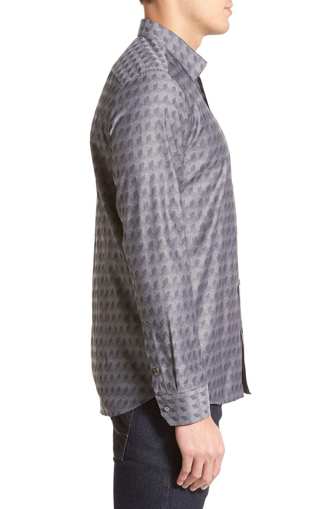 'Chaymo' Modern Slim Fit Geometric Chambray Sport Shirt,                             Alternate thumbnail 4, color,                             001