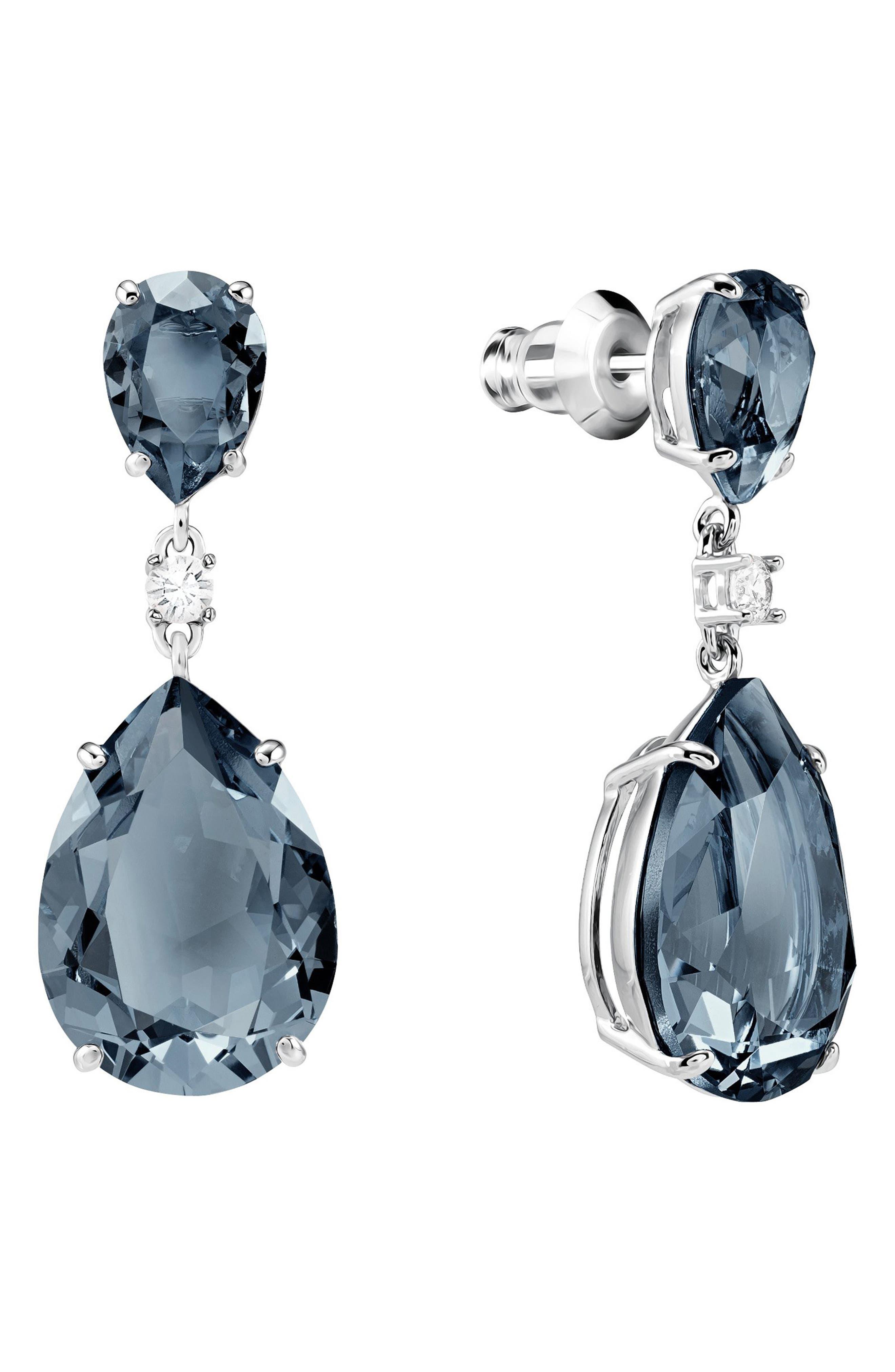 Pear Crystal Drop Earrings,                             Alternate thumbnail 3, color,                             TEAL