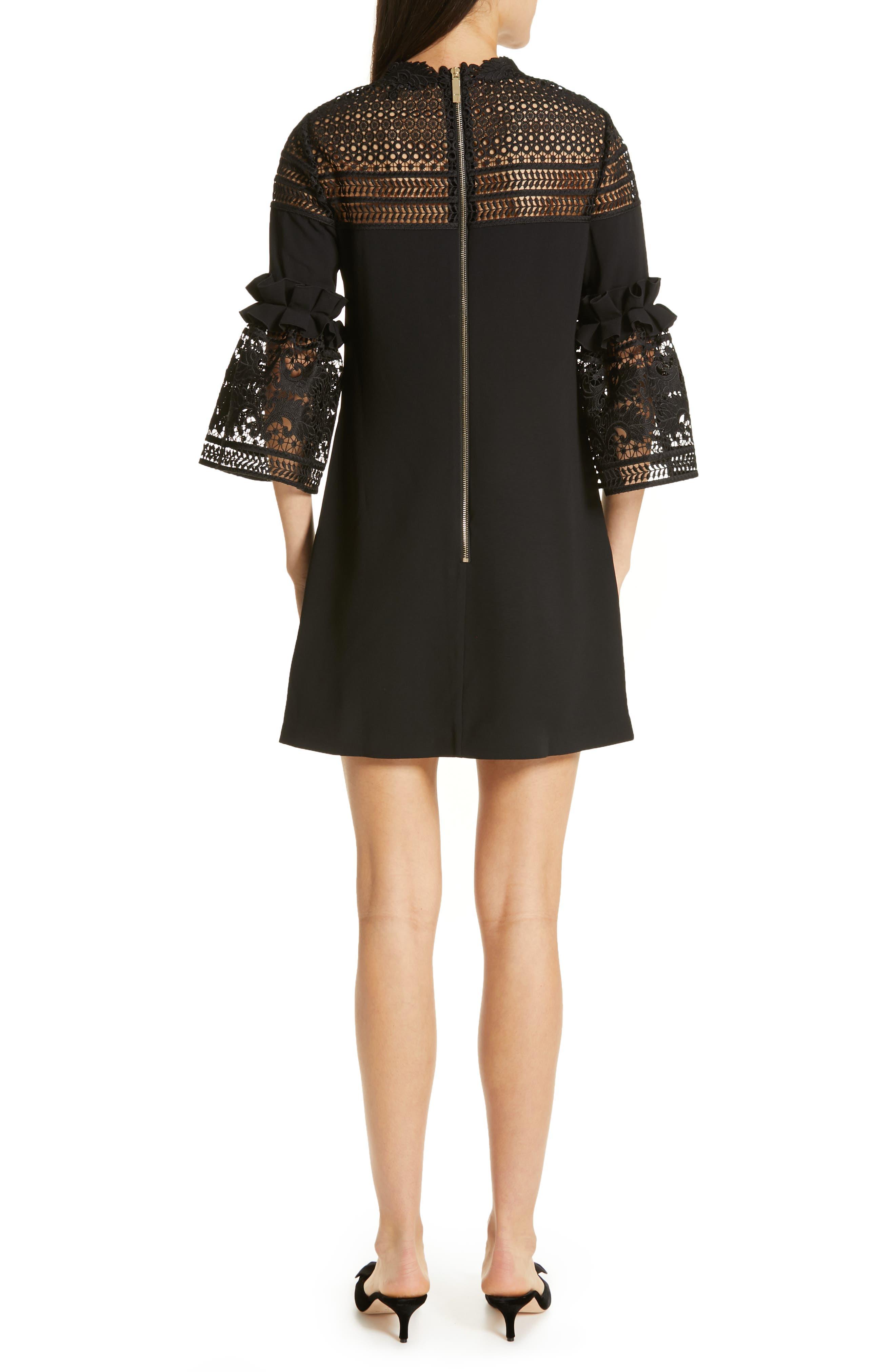 Lace Panel Bell Sleeve Tunic Dress,                             Alternate thumbnail 2, color,                             BLACK