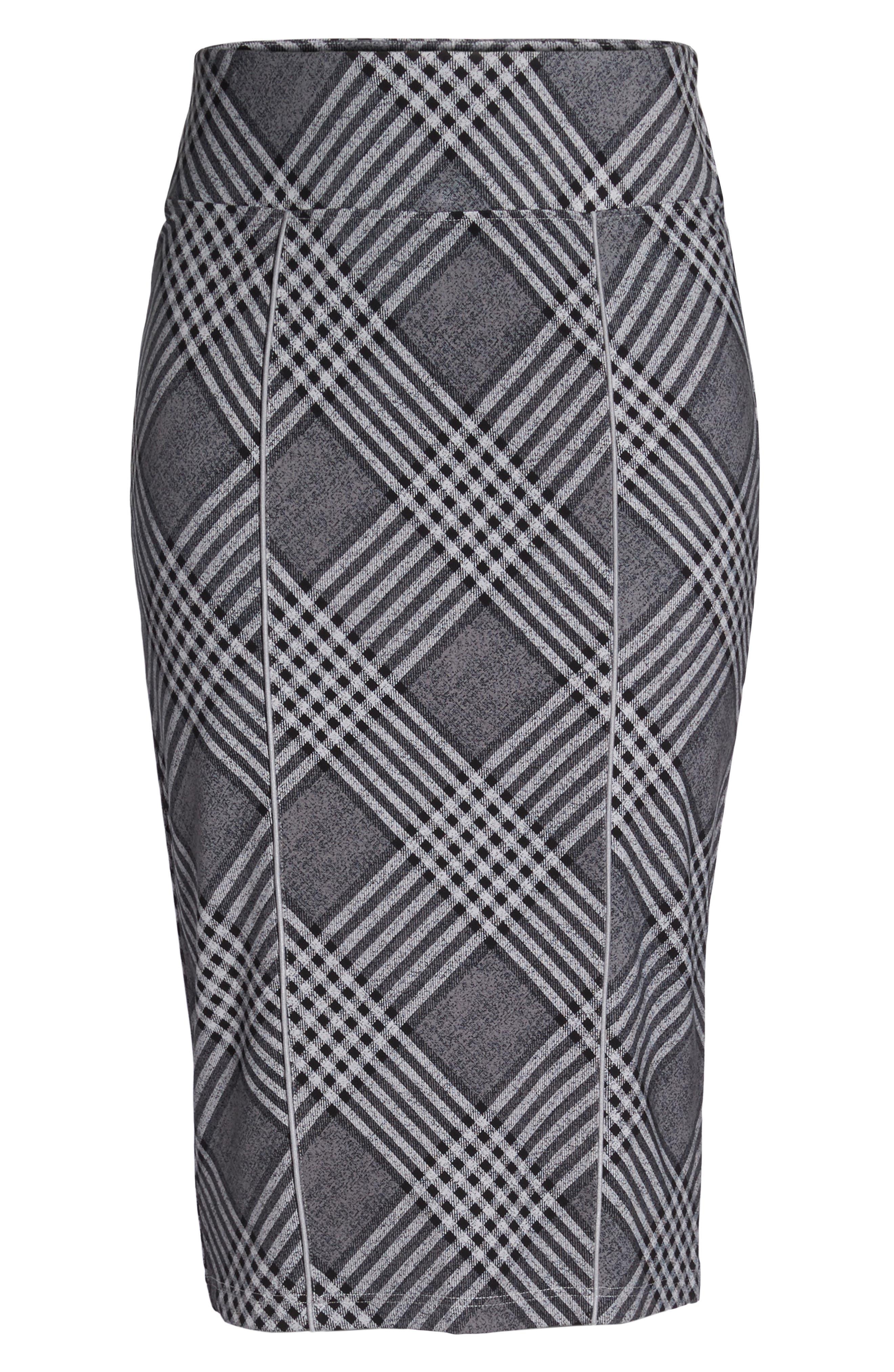 Plaid Pencil Skirt,                             Alternate thumbnail 6, color,                             036