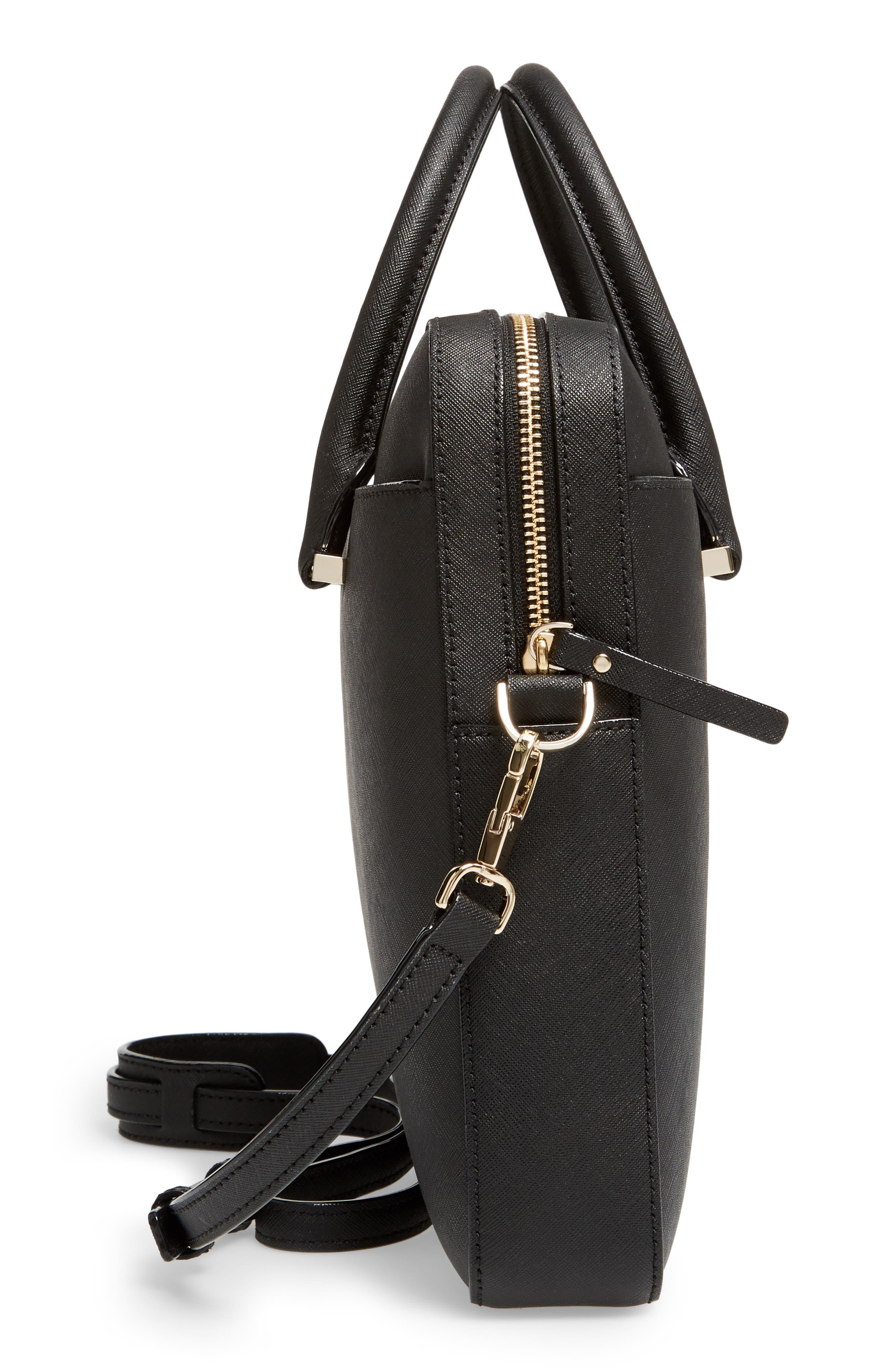 saffiano leather laptop bag,                             Alternate thumbnail 5, color,                             BLACK