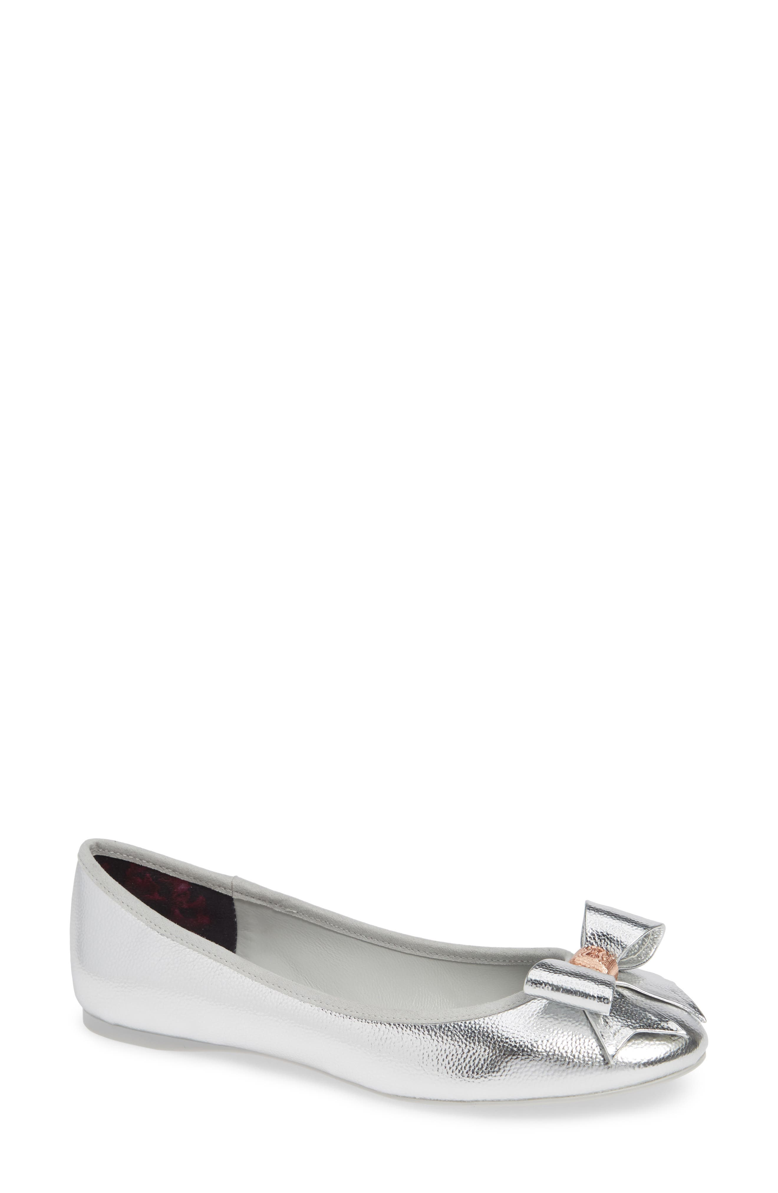 TED BAKER Women'S Sually Ballet Flats in Silver