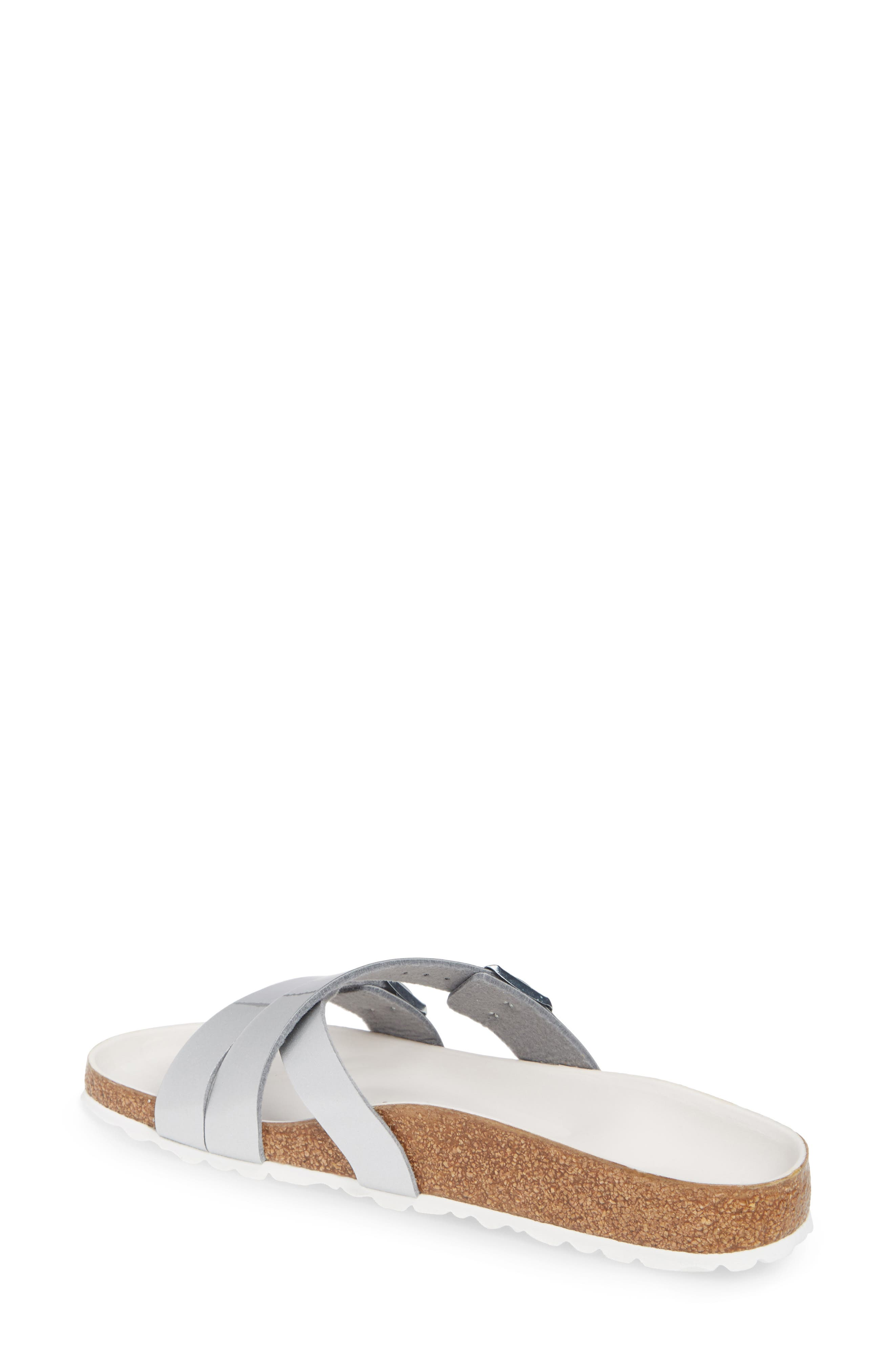 BIRKENSTOCK,                             Yao Metallic Slide Sandal,                             Alternate thumbnail 2, color,                             METALLIC SILVER