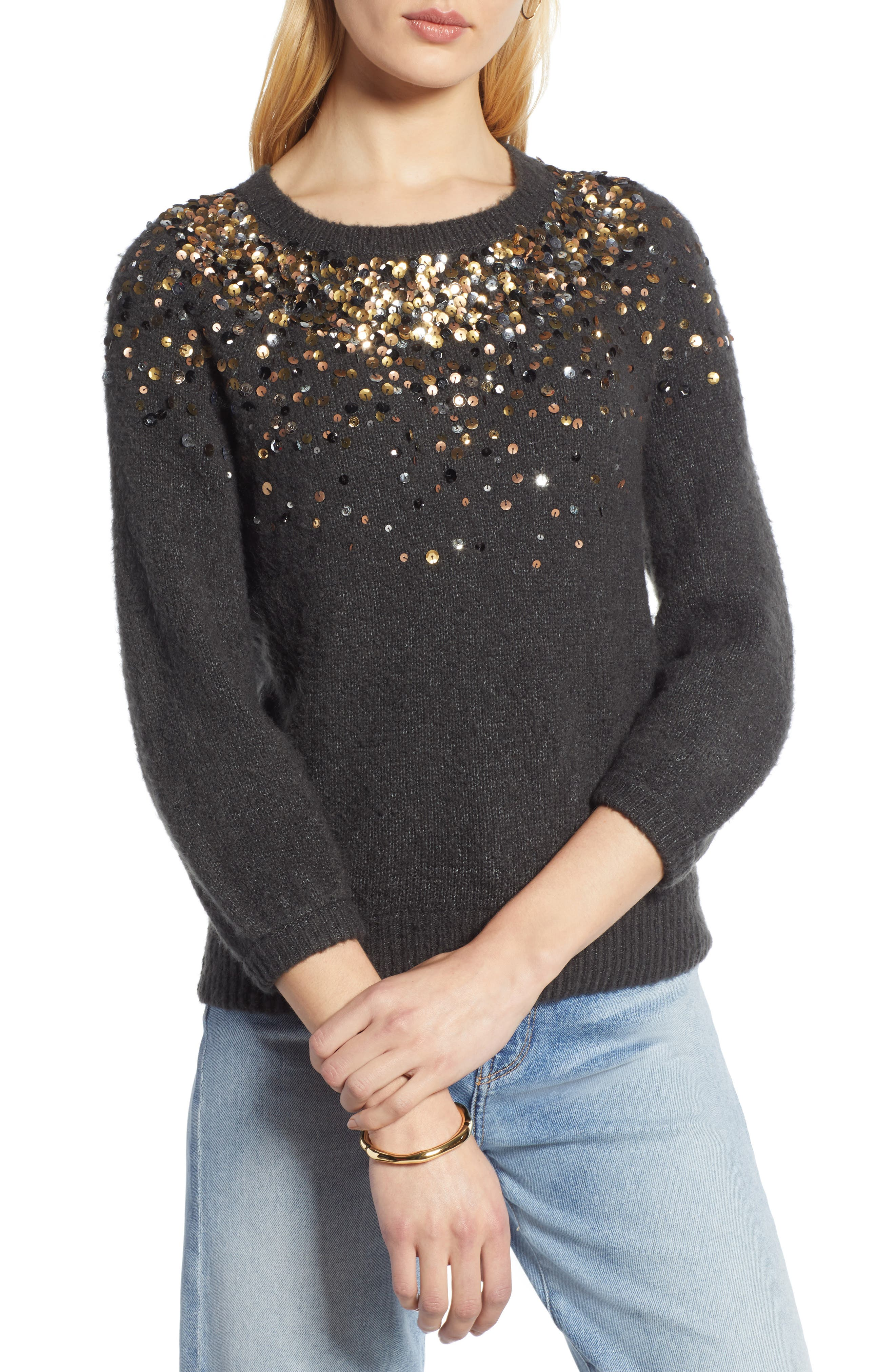 Sequin Detail Sweater,                             Main thumbnail 1, color,                             CHARCOAL