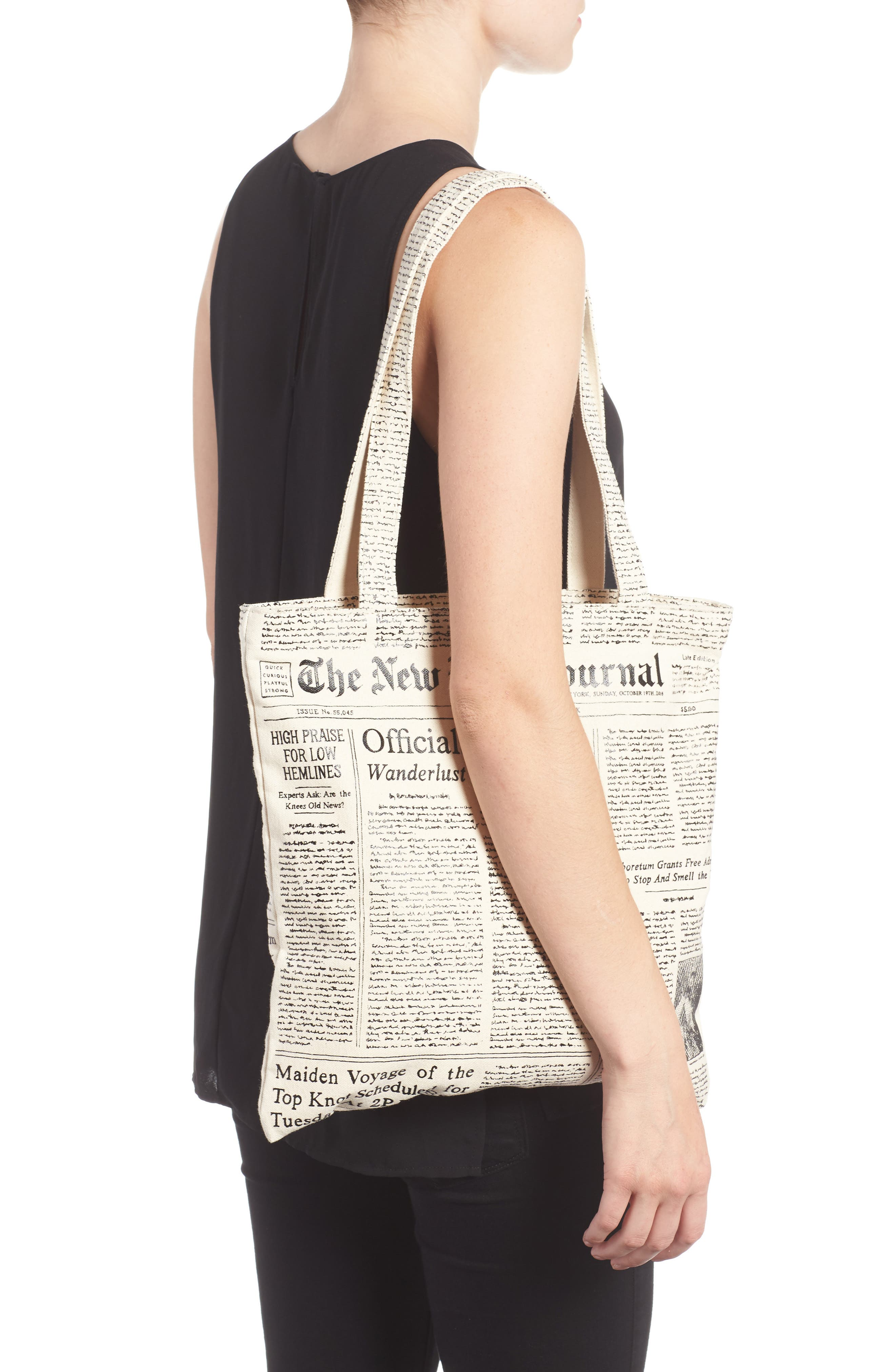 newspaper print canvas shopping tote,                             Alternate thumbnail 3, color,                             001