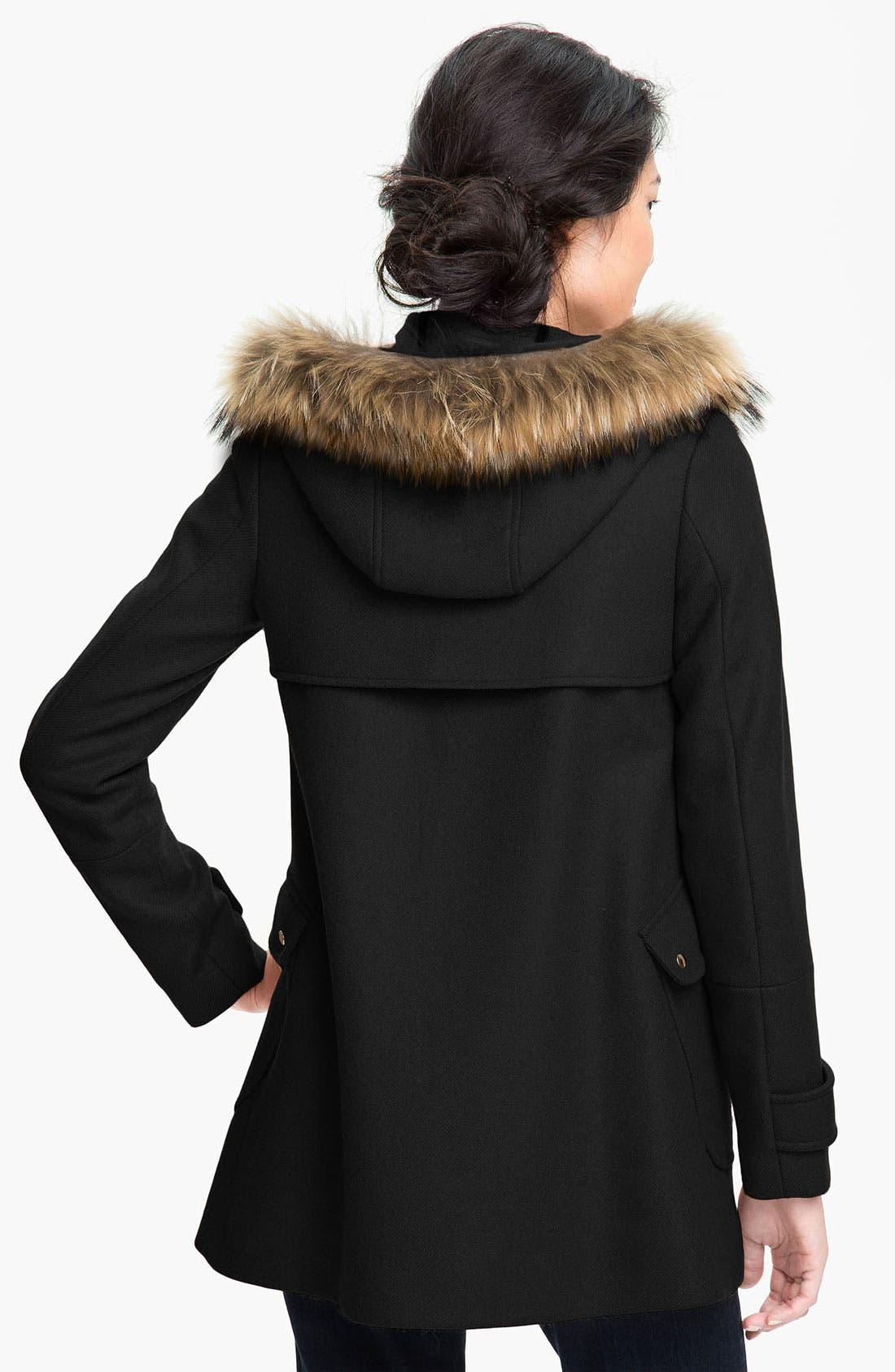 TRINA TURK,                             Hooded Duffle Coat with Genuine Coyote Fur Trim,                             Alternate thumbnail 3, color,                             001