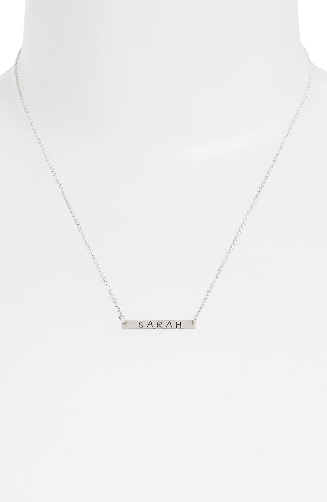Personalized Bar Necklace,                             Alternate thumbnail 2, color,                             SILVER