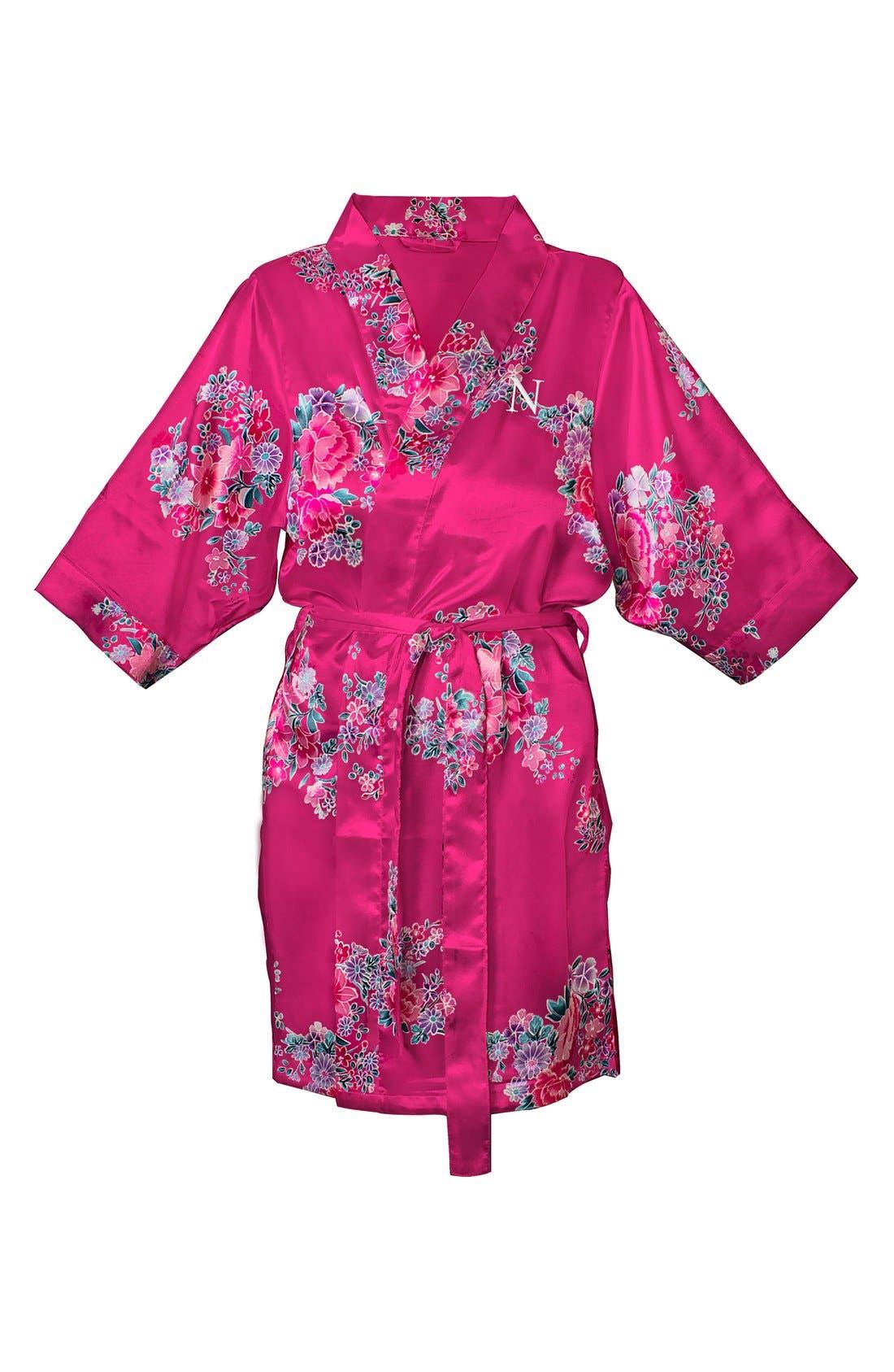 Monogram Floral Satin Robe,                             Main thumbnail 100, color,