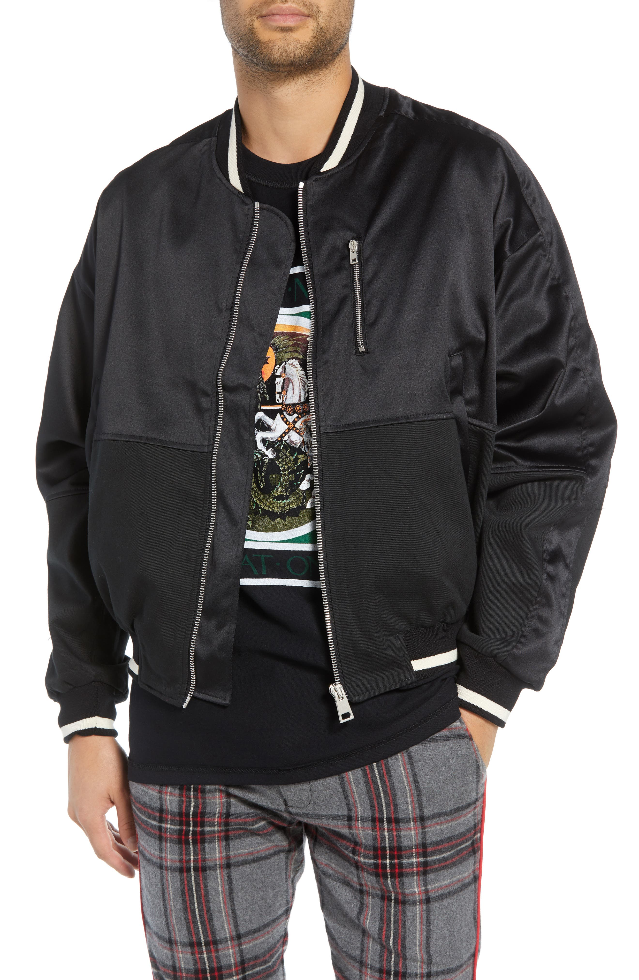 Military Bomber Jacket,                             Main thumbnail 1, color,                             BLACK