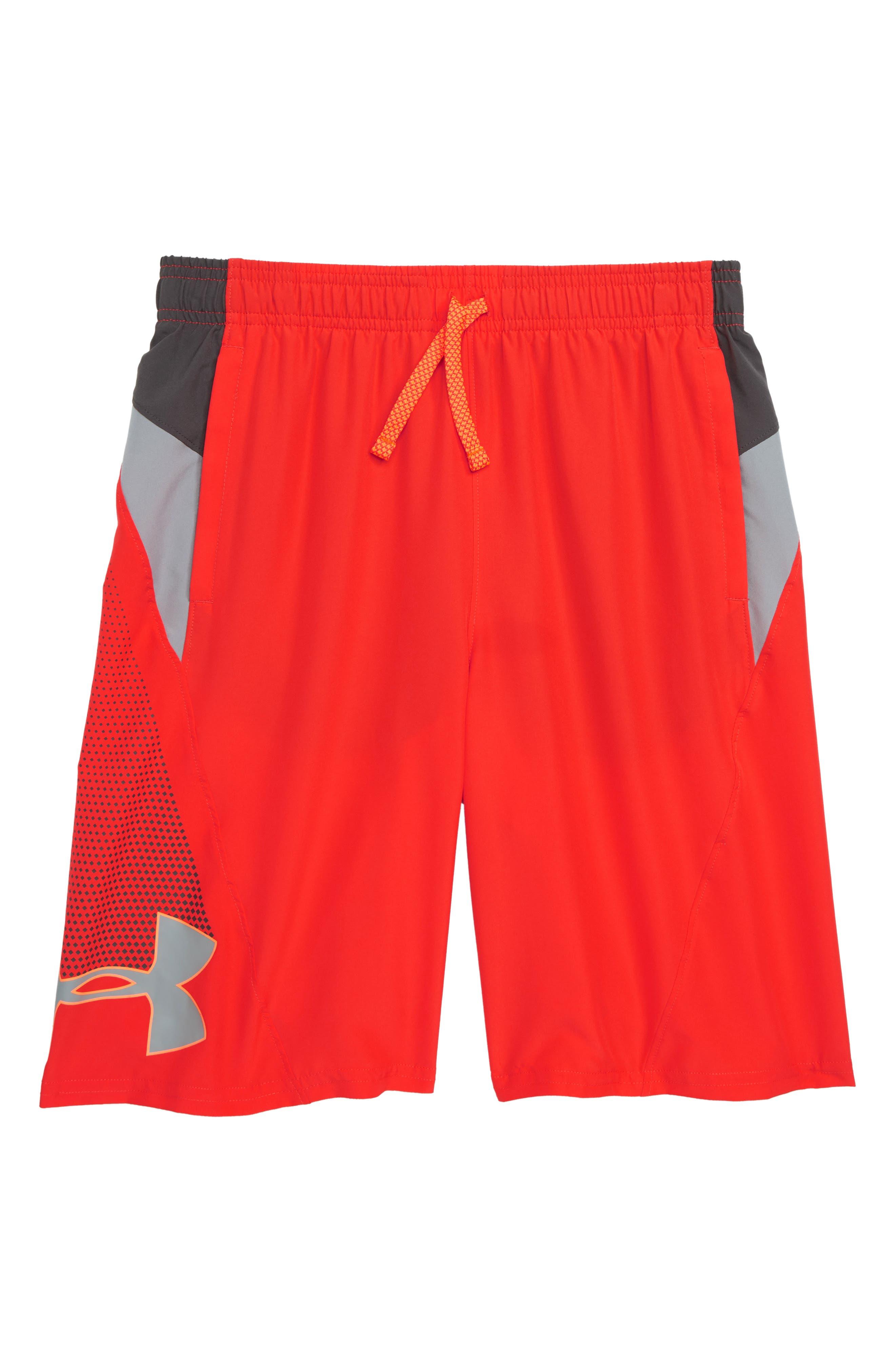 Evolve HeatGear<sup>®</sup> Woven Shorts,                             Main thumbnail 1, color,                             RADIO RED/ CHARCOAL