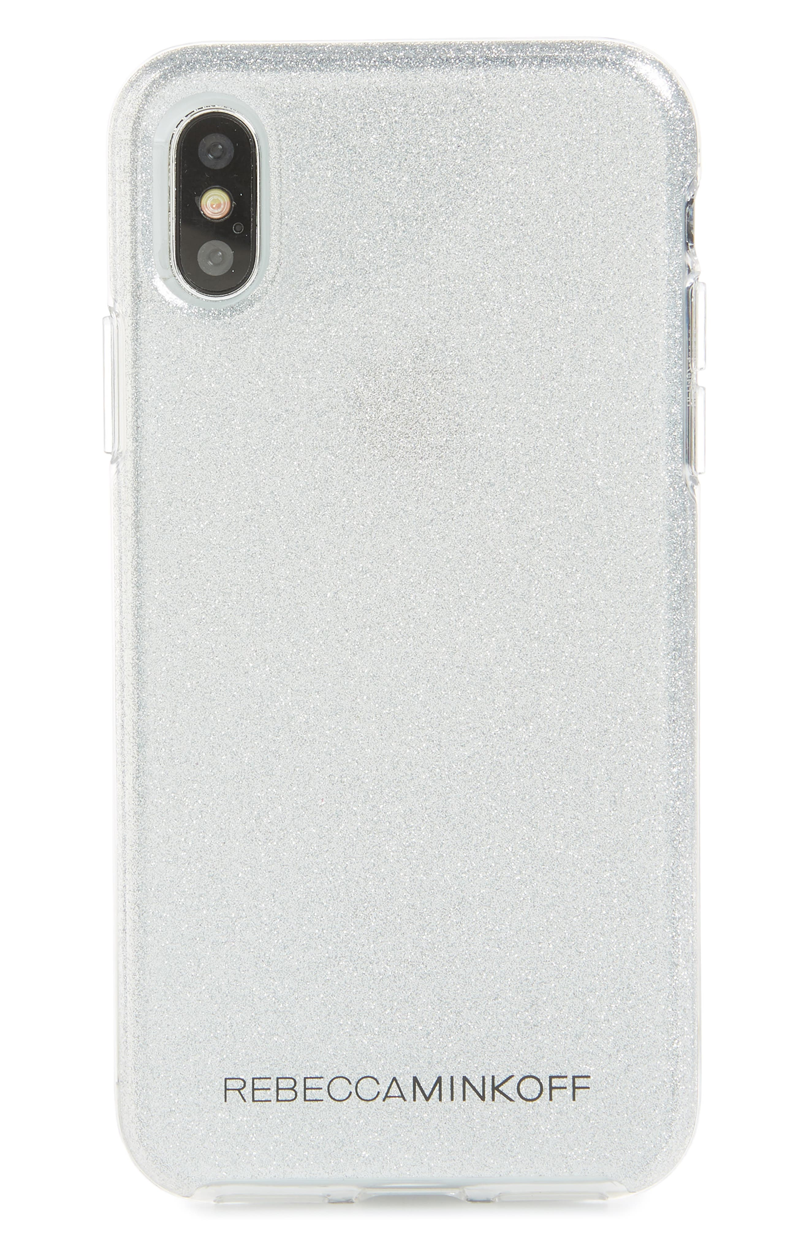 Be More Transparent iPhone X/Xs Case,                         Main,                         color, SILVER GLITTER