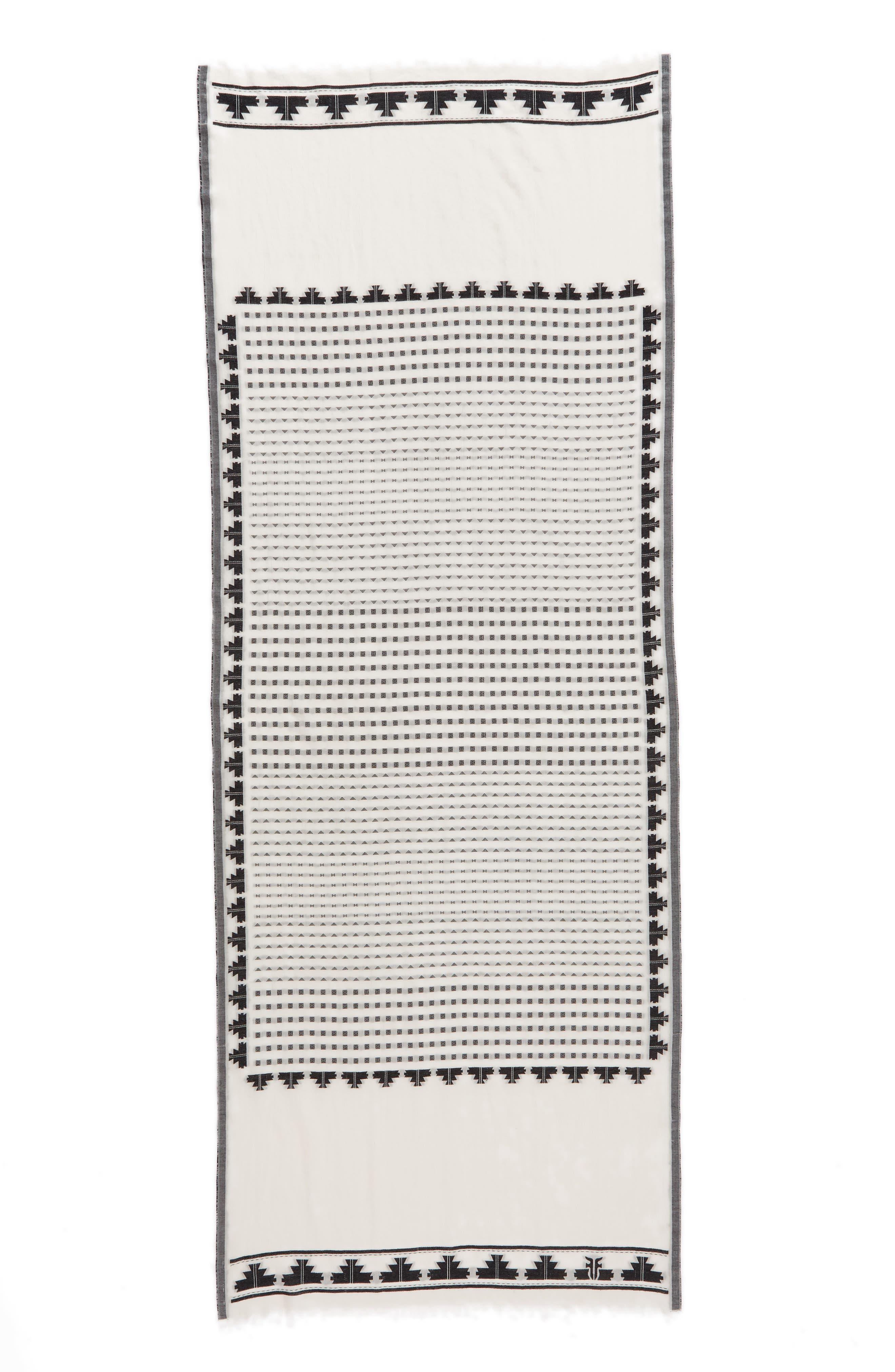 Clip Dot Jacquard Cotton Scarf,                             Alternate thumbnail 3, color,                             100
