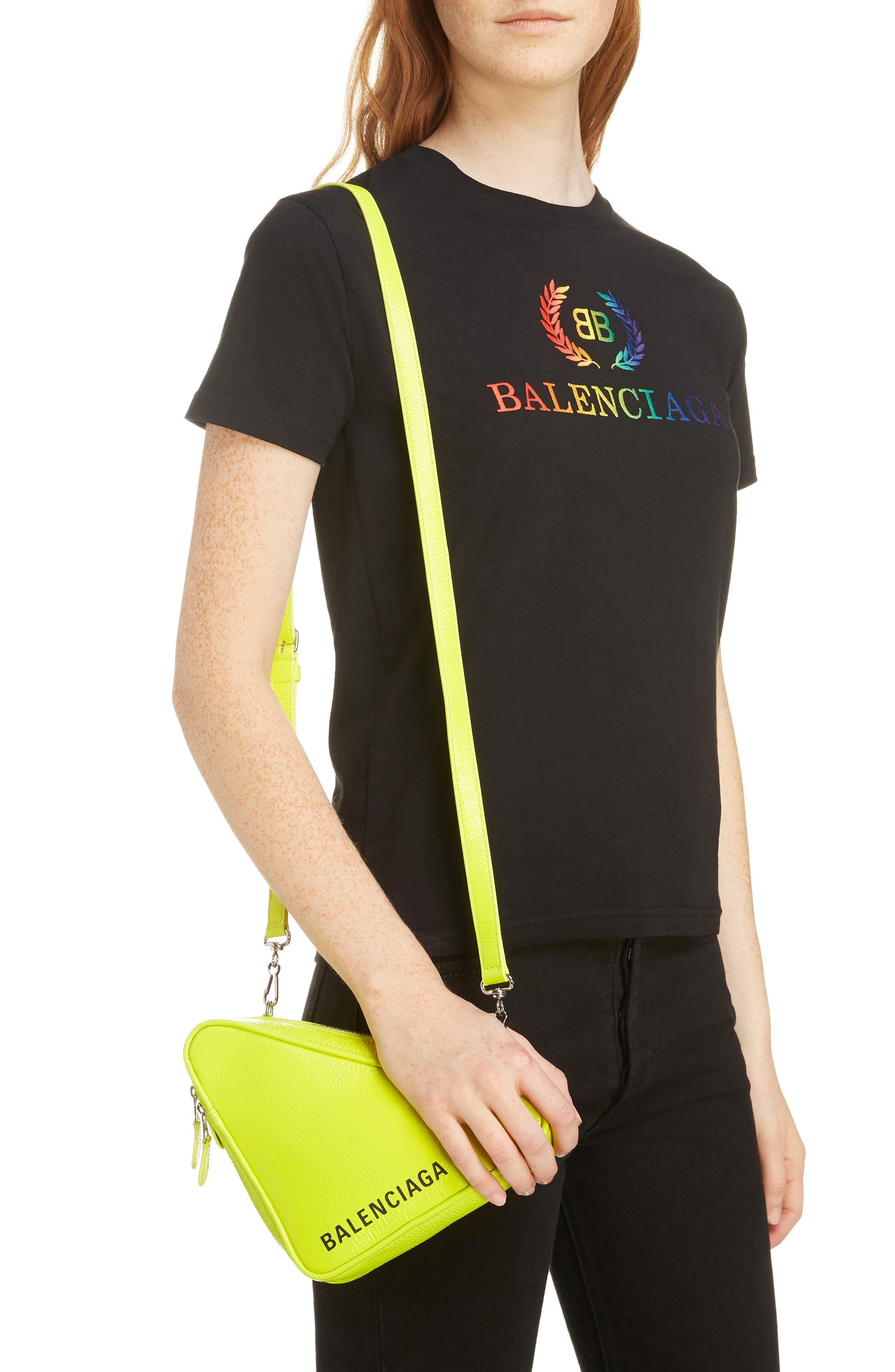 BALENCIAGA,                             Triangle Calfskin Crossbody Bag,                             Alternate thumbnail 2, color,                             ACID GREEN/ BLACK