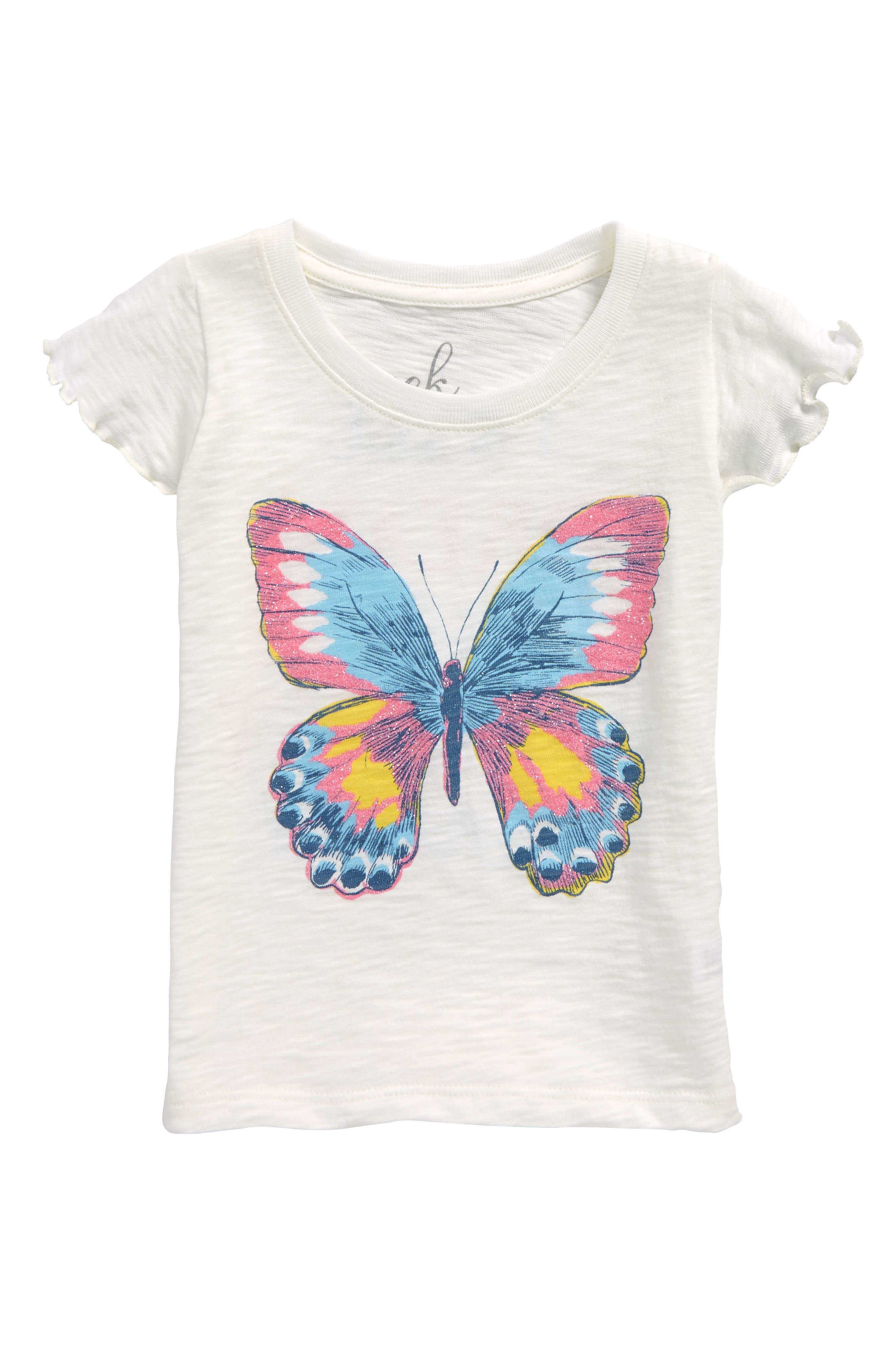PEEK AREN'T YOU CURIOUS,                             Peek Butterfly Graphic Tee,                             Main thumbnail 1, color,                             100