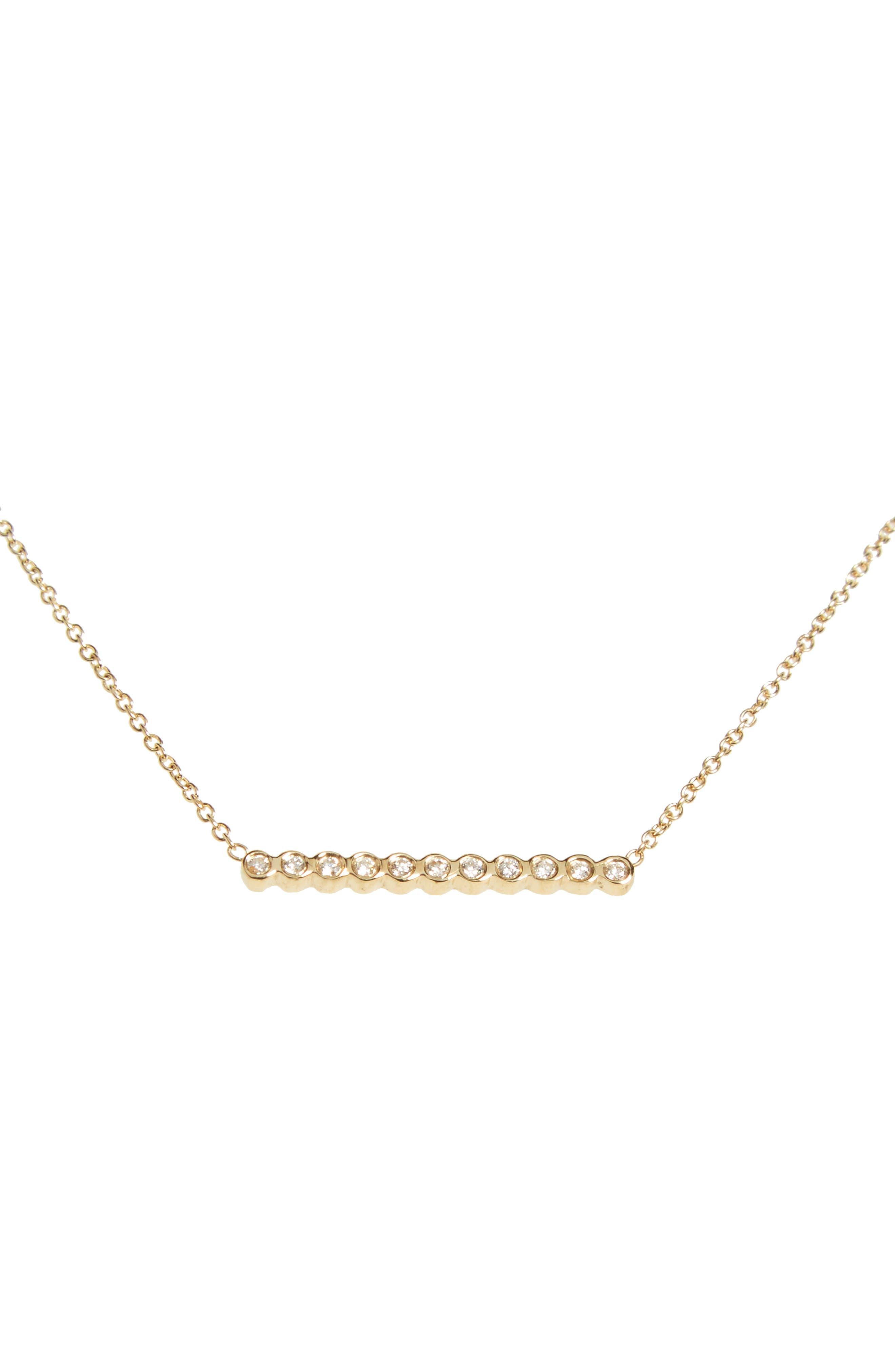 Diamond Bar Pendant Necklace,                             Alternate thumbnail 2, color,                             YELLOW GOLD