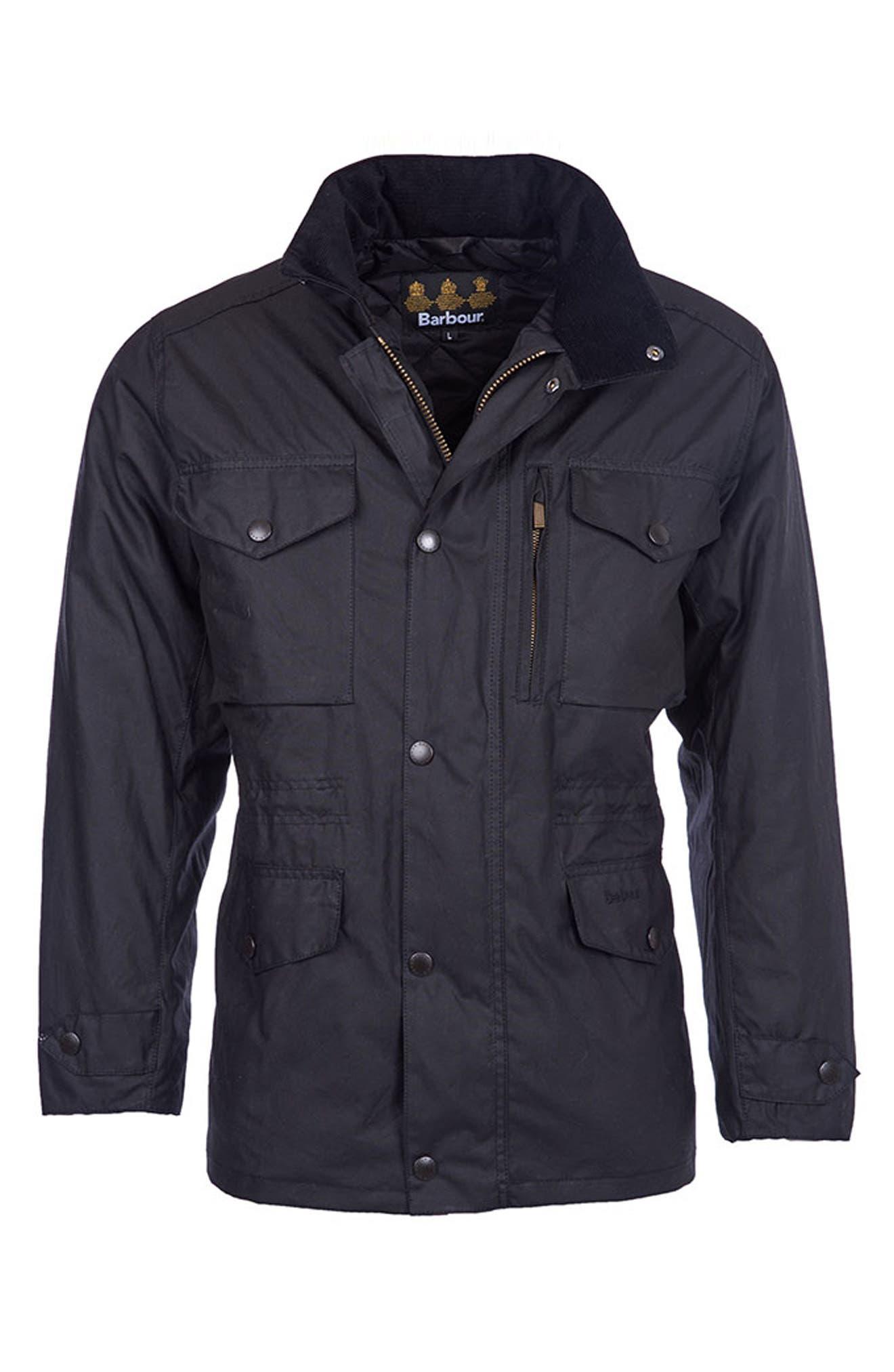 'Sapper' Regular Fit Waterproof Waxed Cotton Jacket,                             Main thumbnail 1, color,                             BLACK