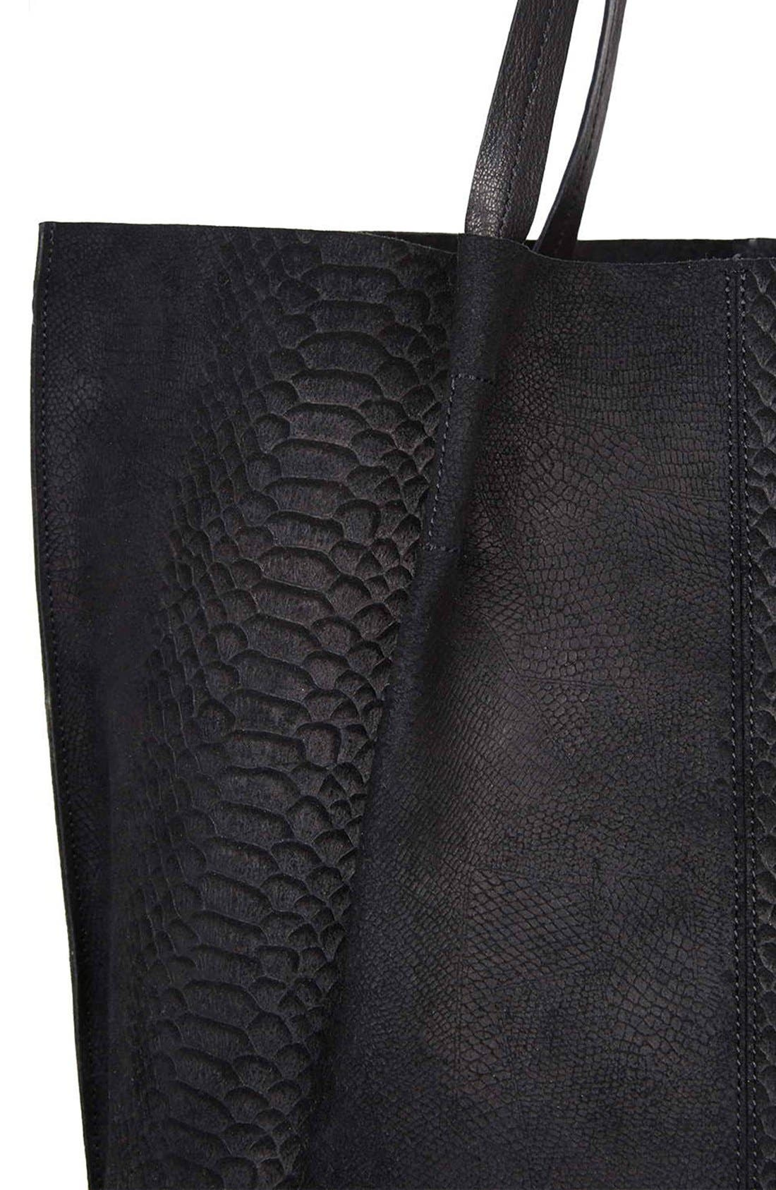 Embossed Suede Shopper,                             Alternate thumbnail 4, color,                             001