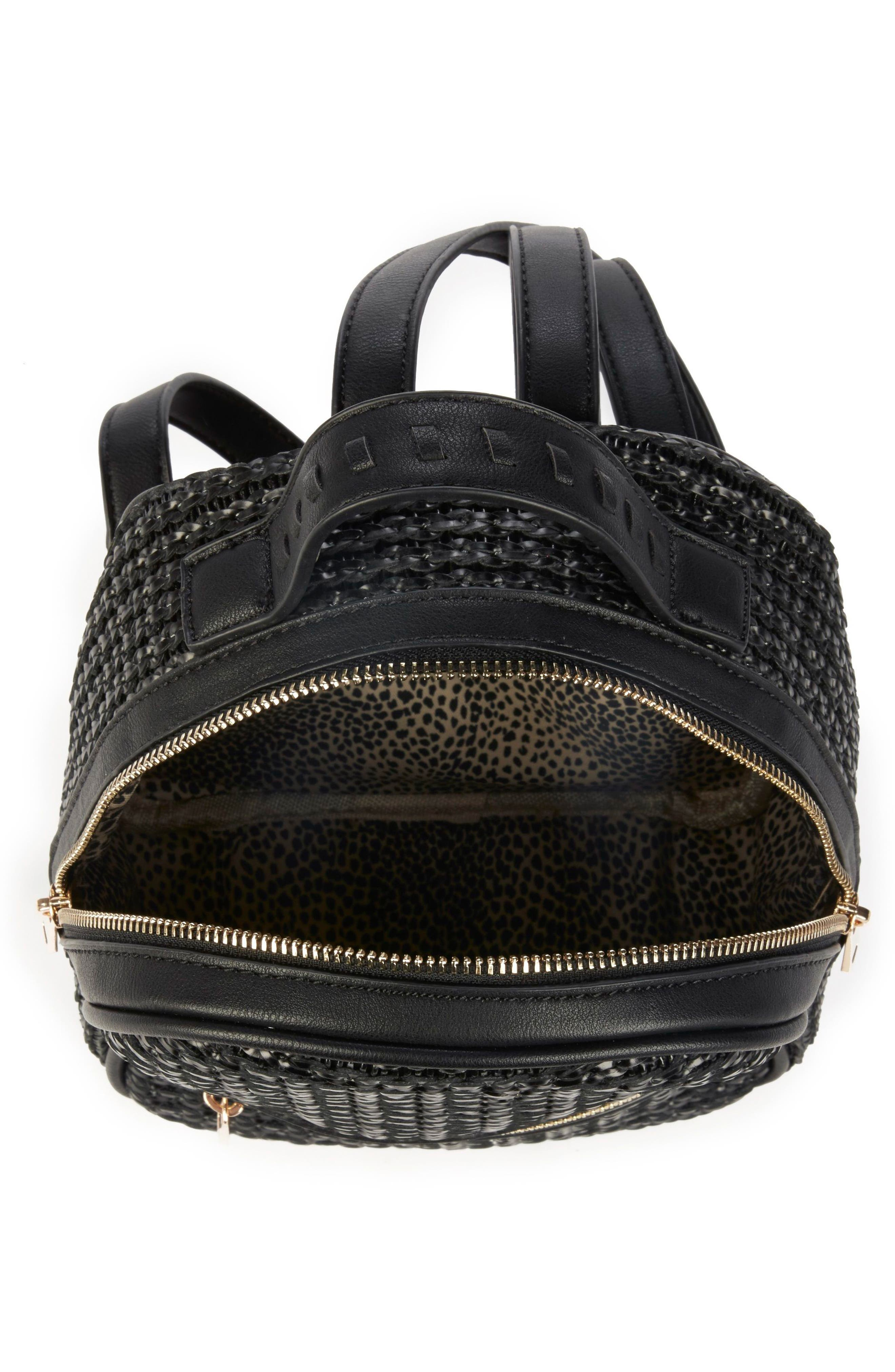 Nikole Faux Leather Backpack,                             Alternate thumbnail 4, color,                             BLACK