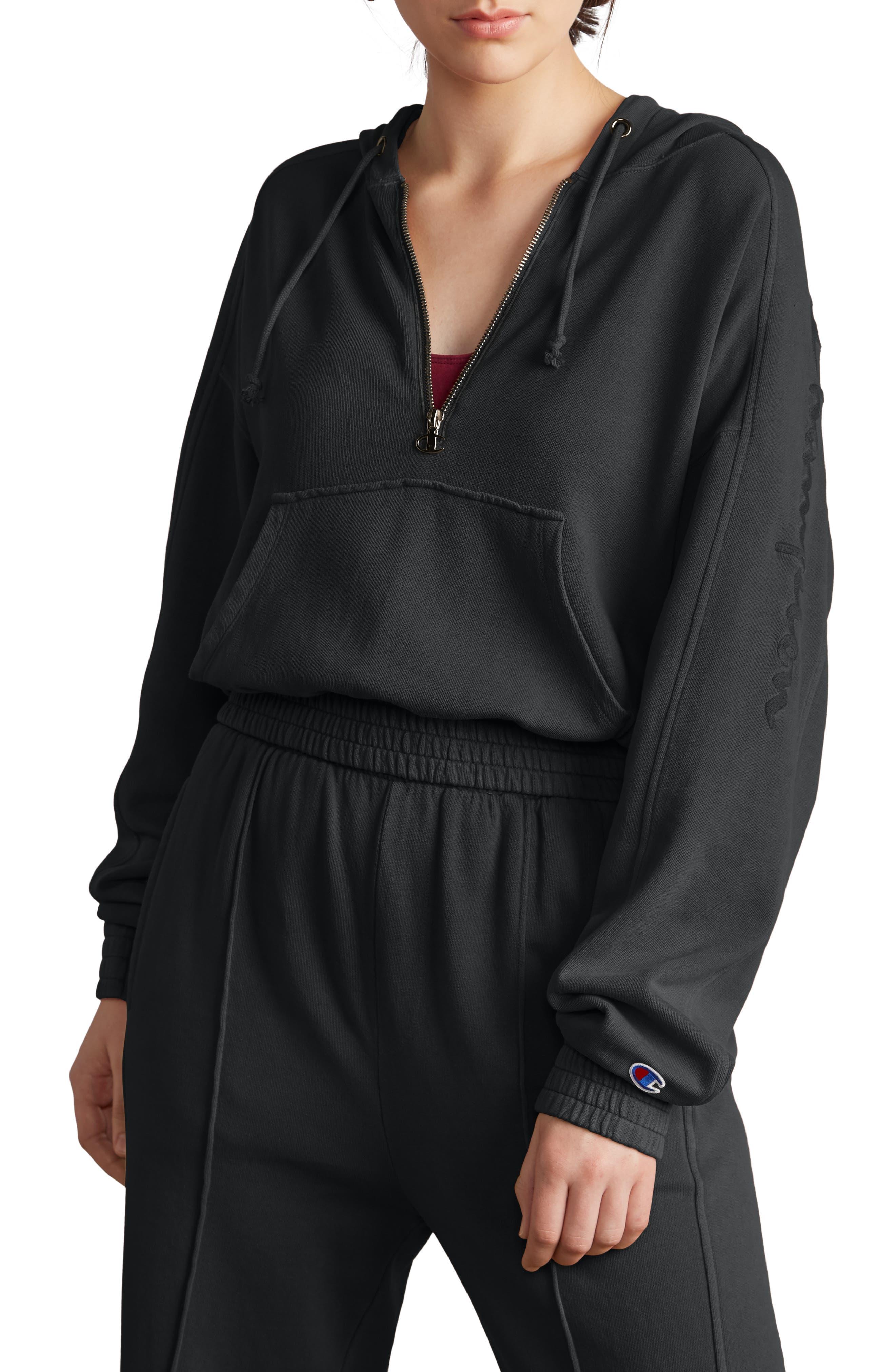 Quarter Zip Hoodie,                         Main,                         color, BLACK