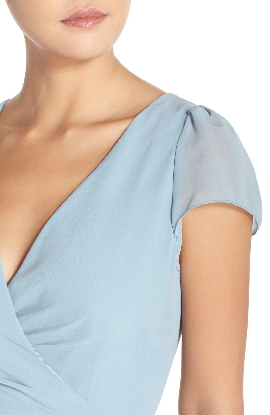 Aurele Cap Sleeve Chiffon Wrap Gown,                             Alternate thumbnail 7, color,