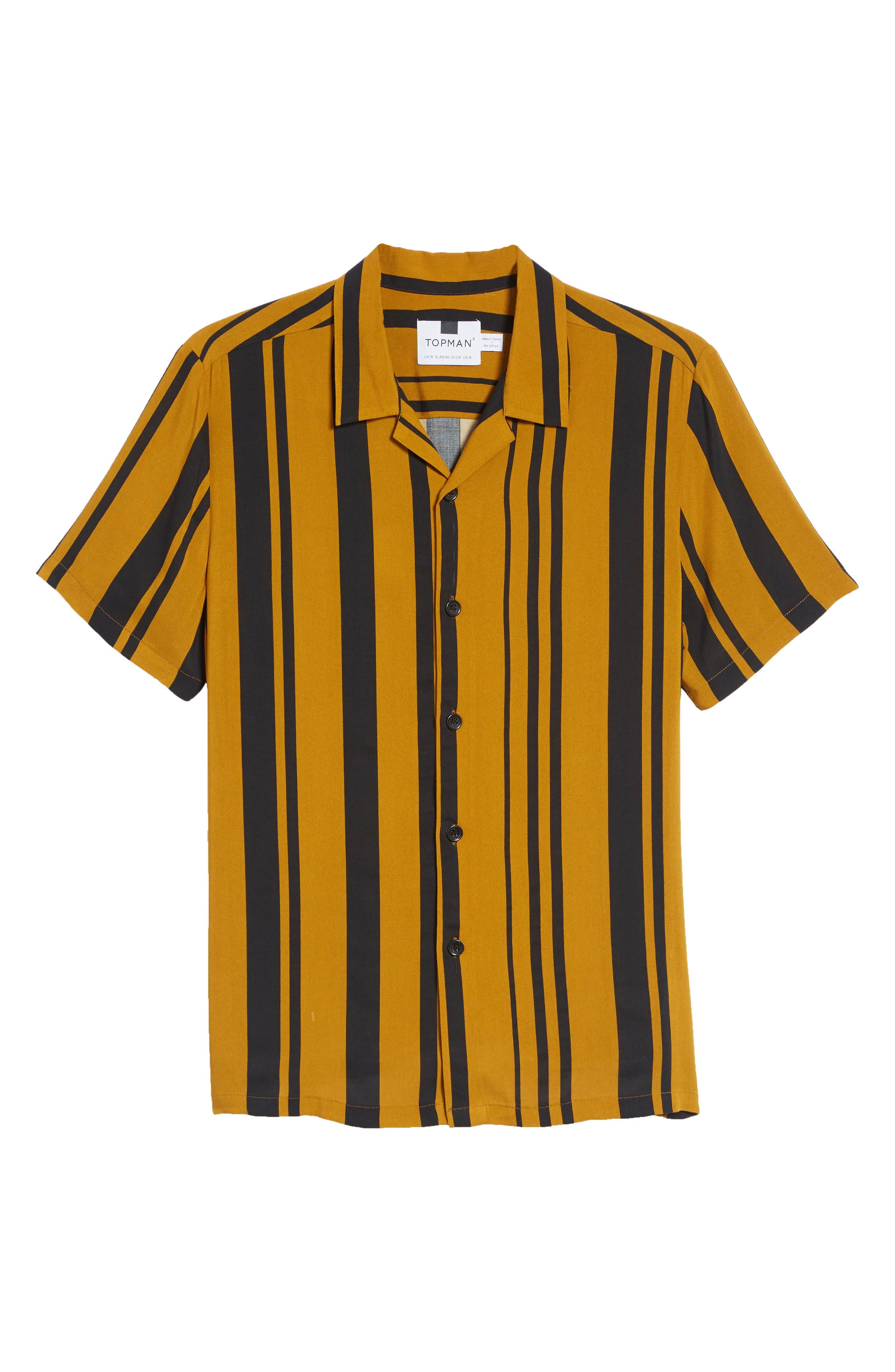 Stripe Classic Fit Shirt,                             Alternate thumbnail 5, color,                             YELLOW MULTI