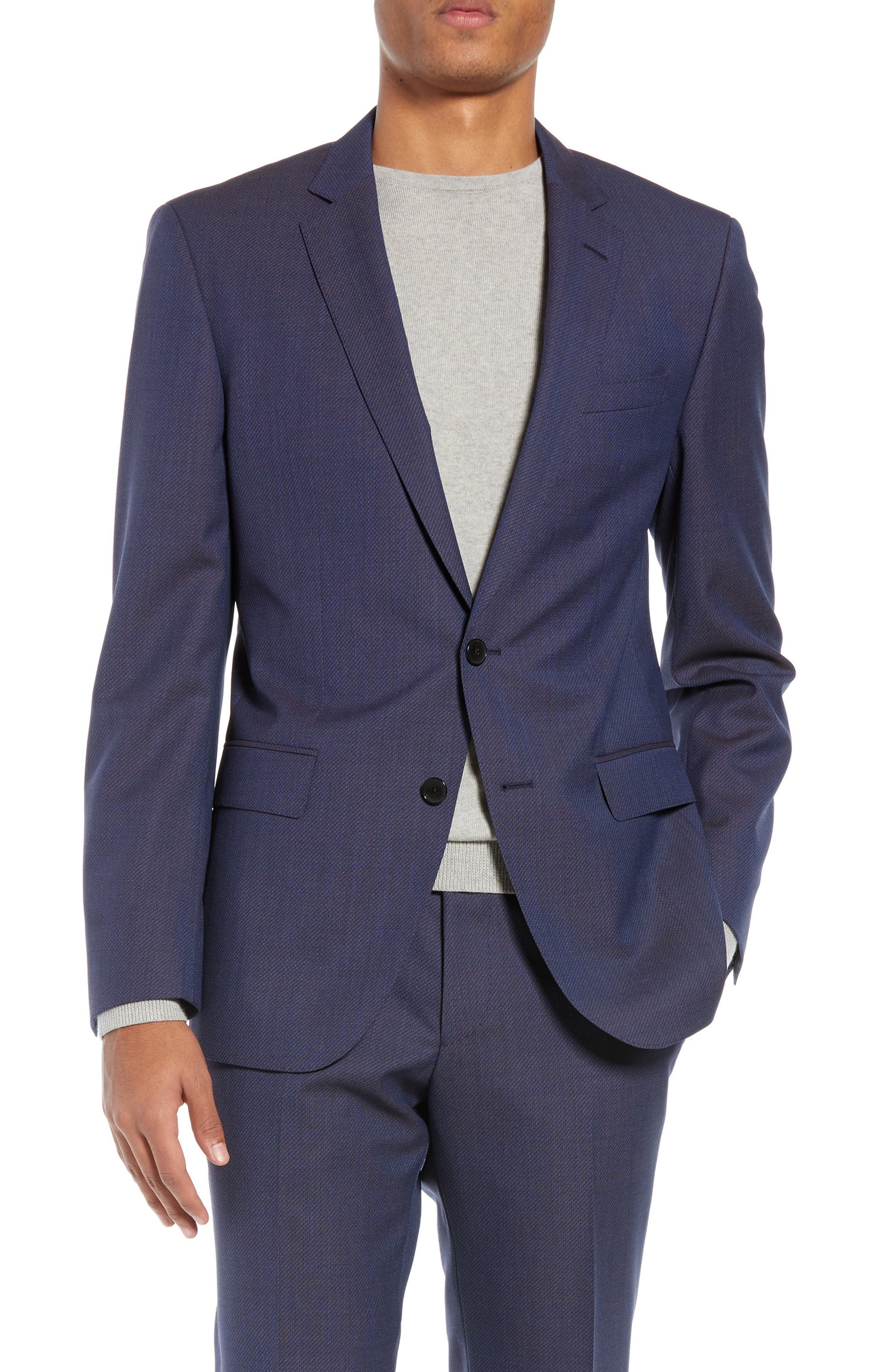Huge/Genius Trim Fit Solid Wool Suit,                             Alternate thumbnail 5, color,                             OPEN BLUE