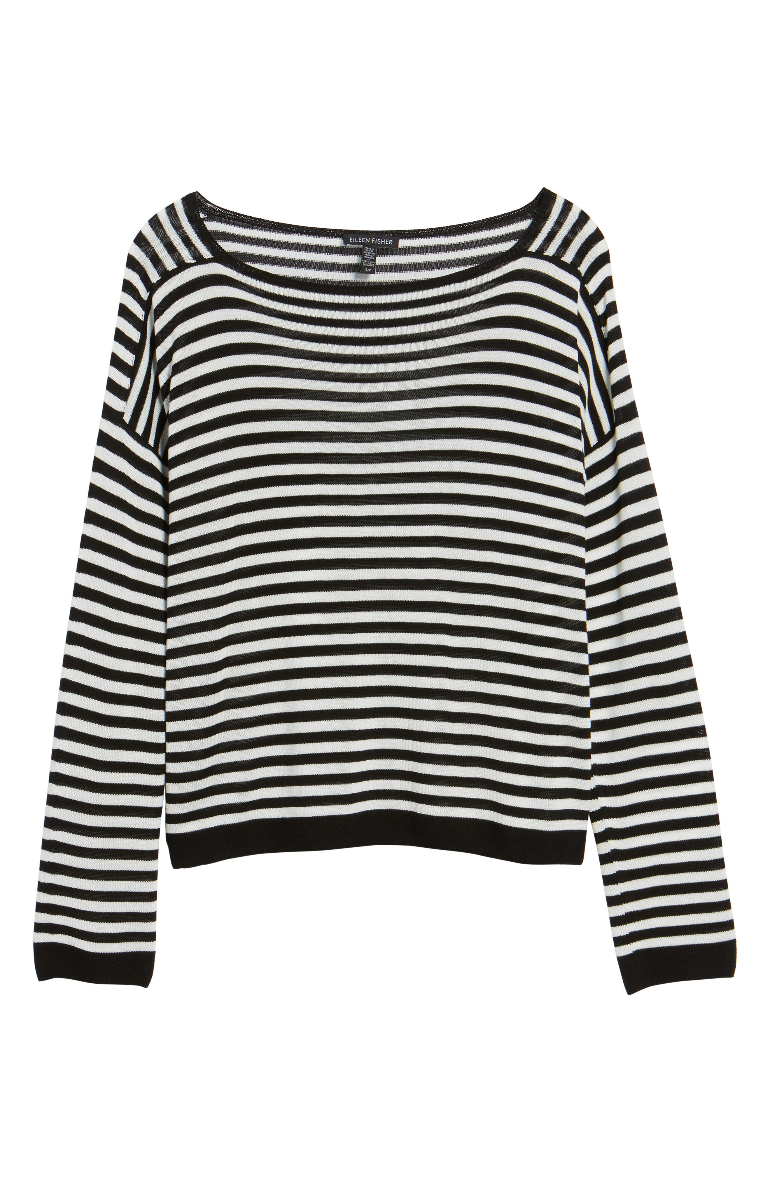 Stripe Tencel<sup>®</sup> Lyocell Knit Sweater,                             Alternate thumbnail 6, color,                             012
