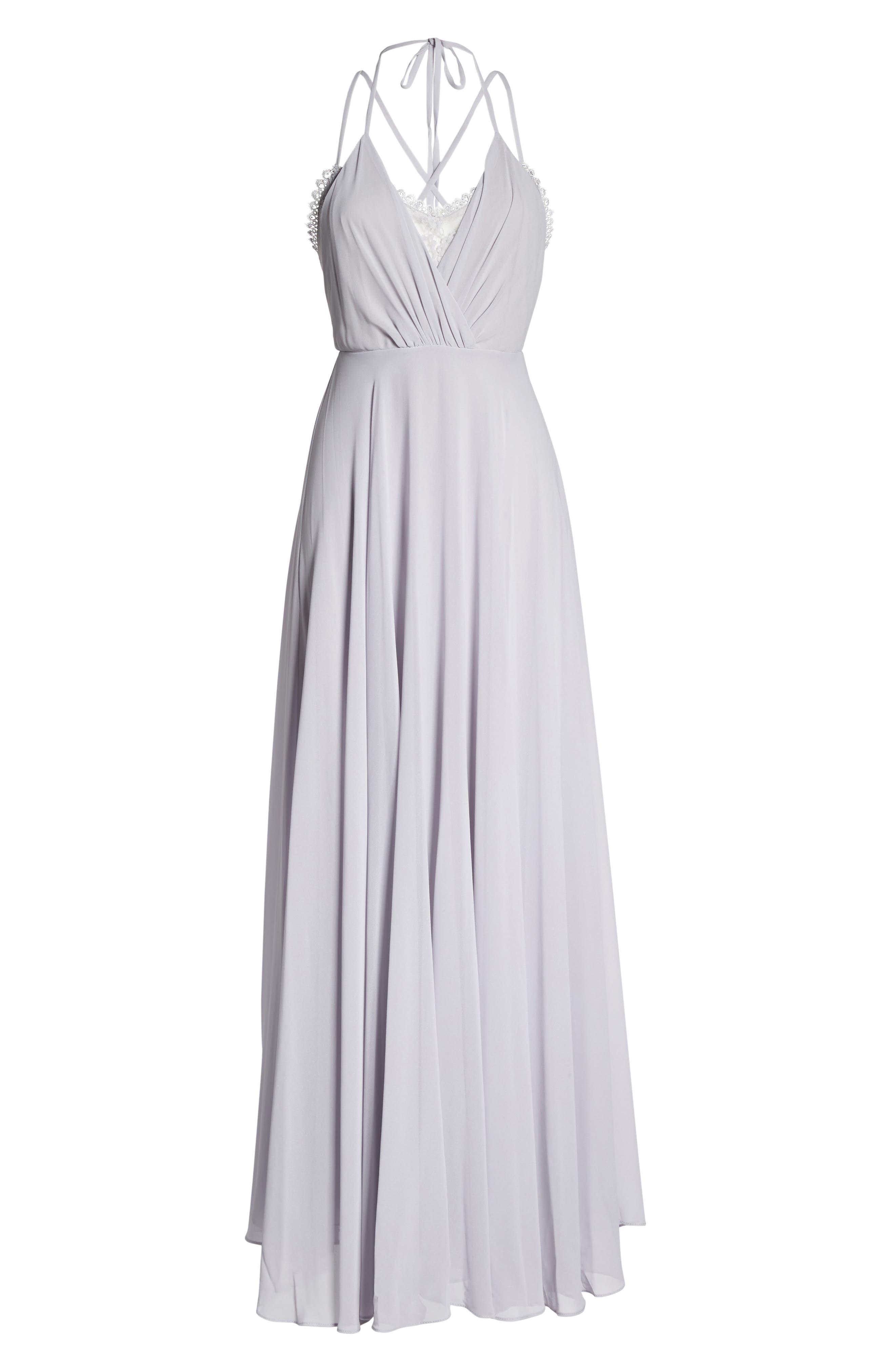 Celebrate the Moment Lace Trim Chiffon Maxi Dress,                             Alternate thumbnail 6, color,                             020