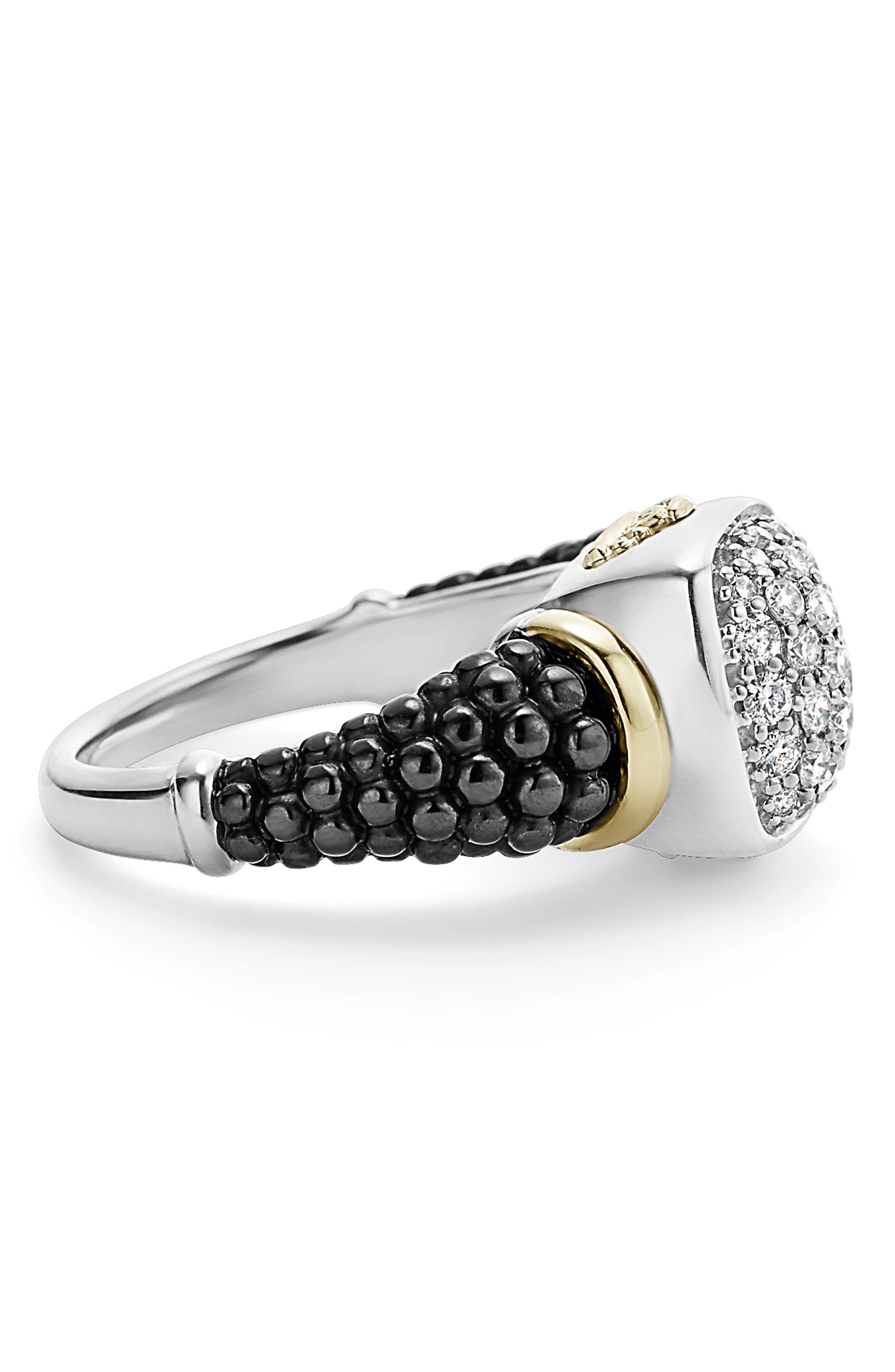 'Caviar' Diamond Ring,                             Alternate thumbnail 3, color,                             BLACK/ GOLD