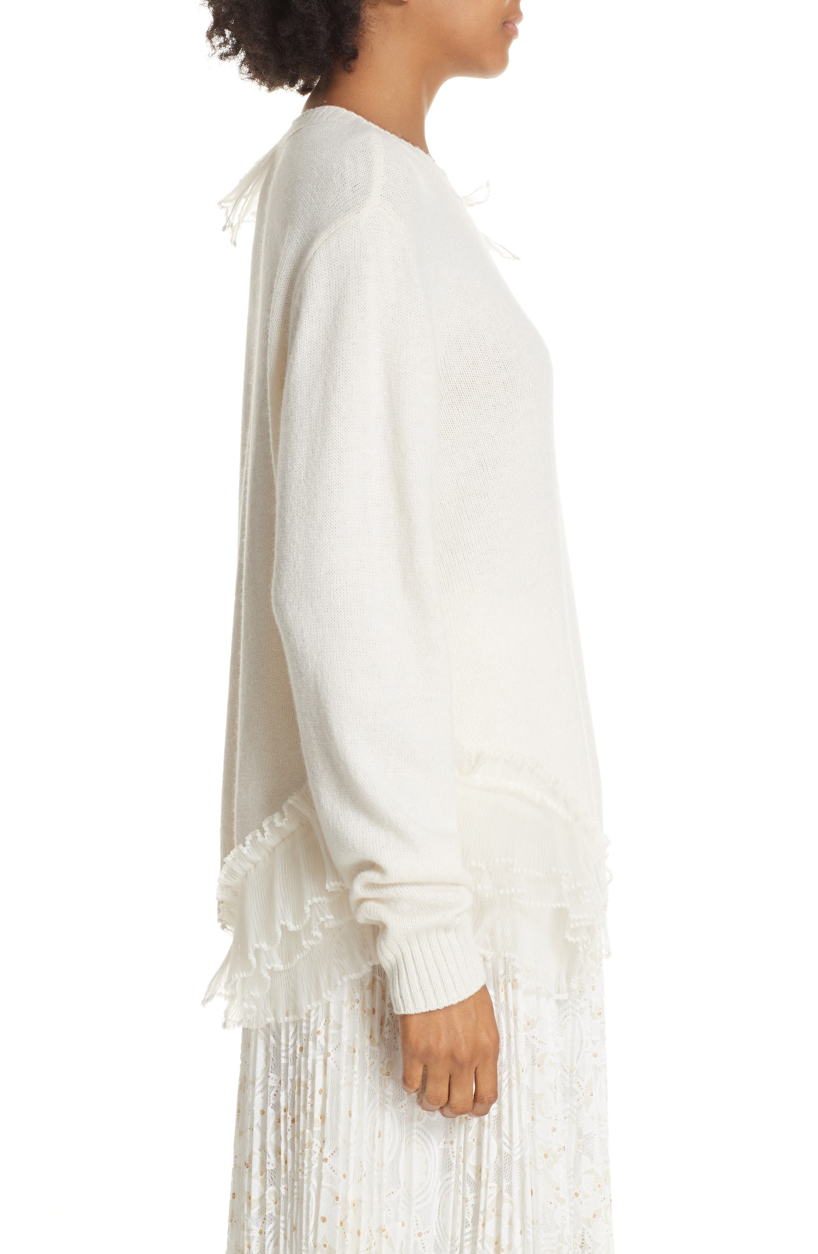 Asymmetric Ruffle Trim Sweater,                             Alternate thumbnail 3, color,                             IVORY