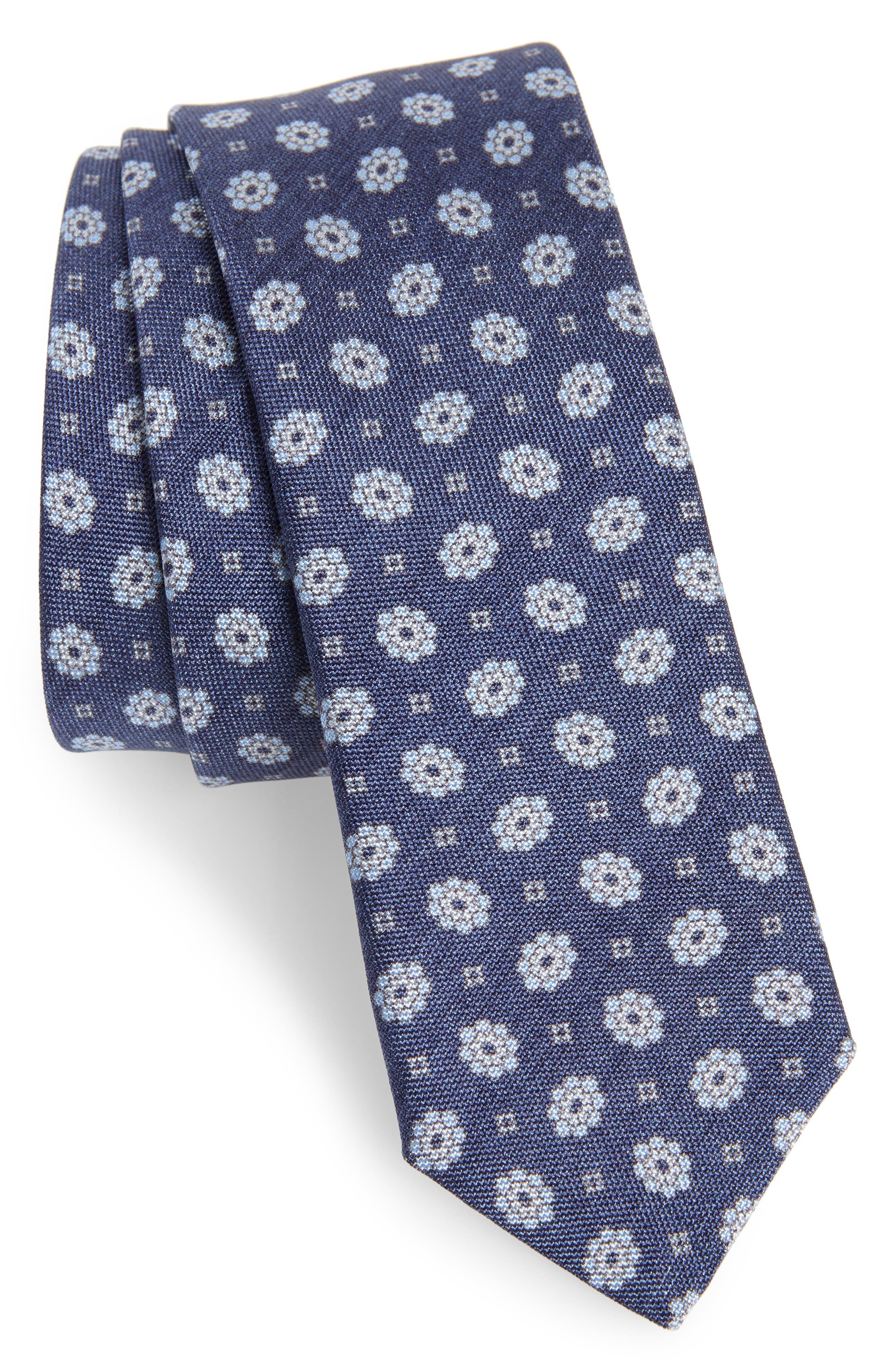 Floral Medallion Skinny Silk Tie,                         Main,                         color, DENIM BLUE